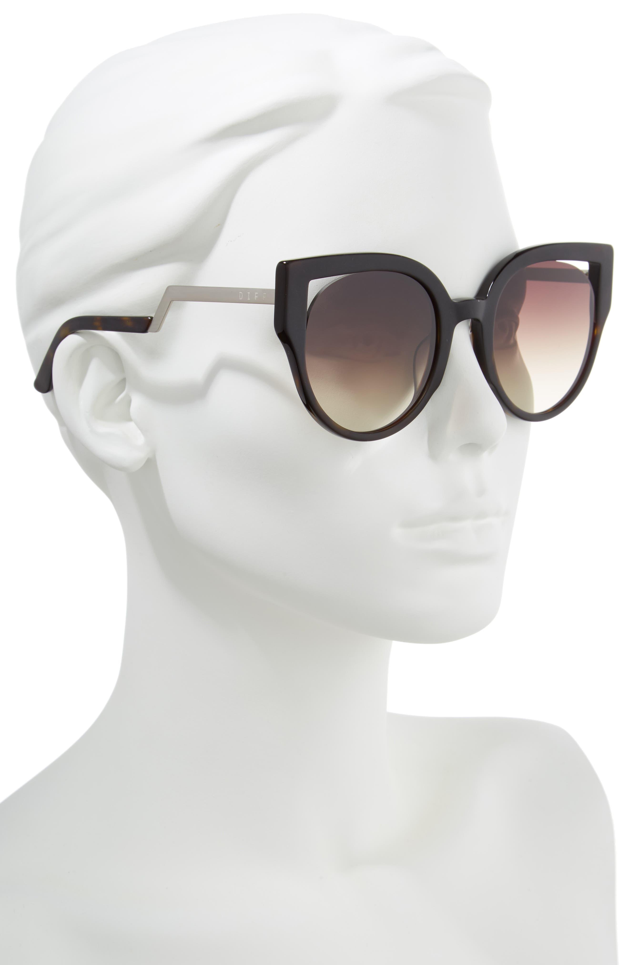 Penny 55mm Cat Eye Sunglasses,                             Alternate thumbnail 2, color,                             MATTE TORTOISE/ BROWN