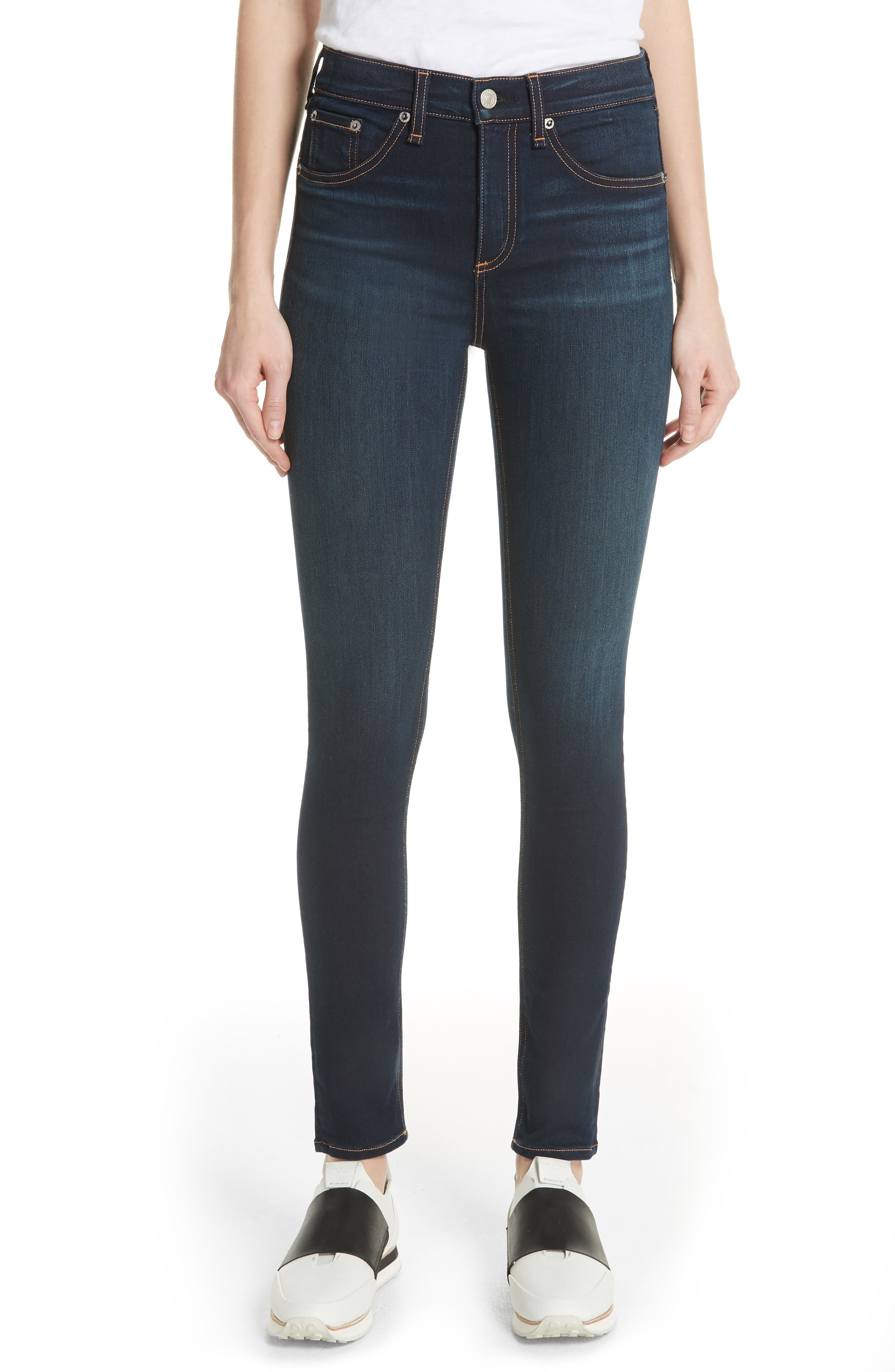 rag & bone DENIM High Waist Skinny Jeans,                             Main thumbnail 1, color,                             BEDFORD