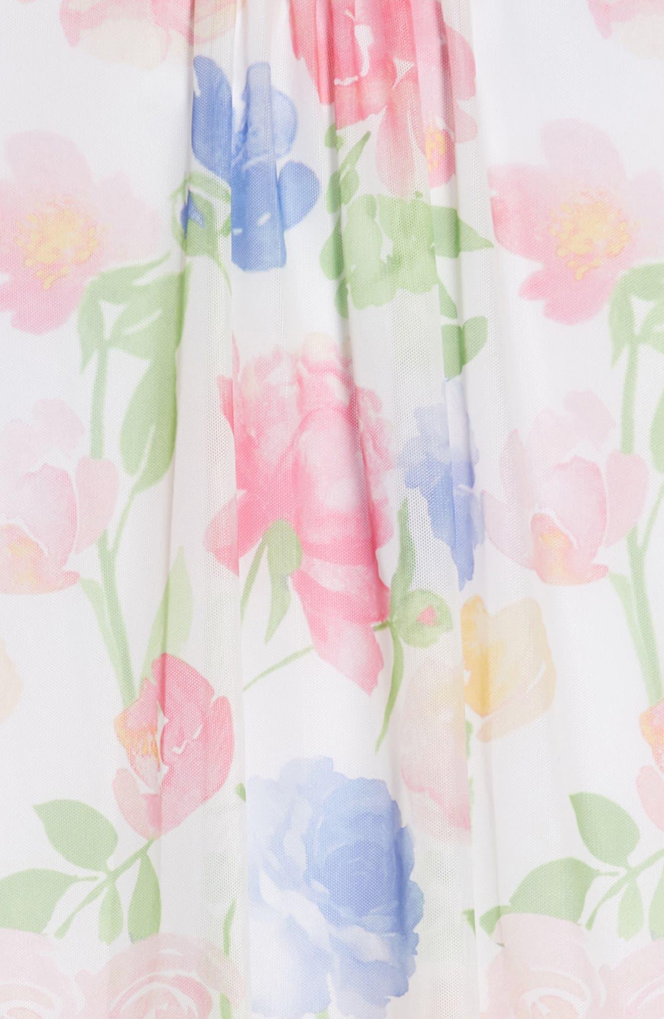 Floral Handkerchief Hem Dress,                             Alternate thumbnail 3, color,                             900