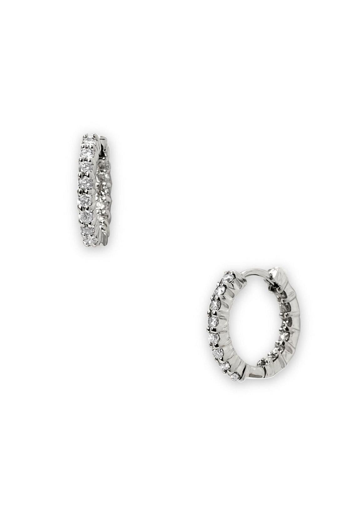 12mm Small Diamond Hoop Earrings,                             Main thumbnail 1, color,