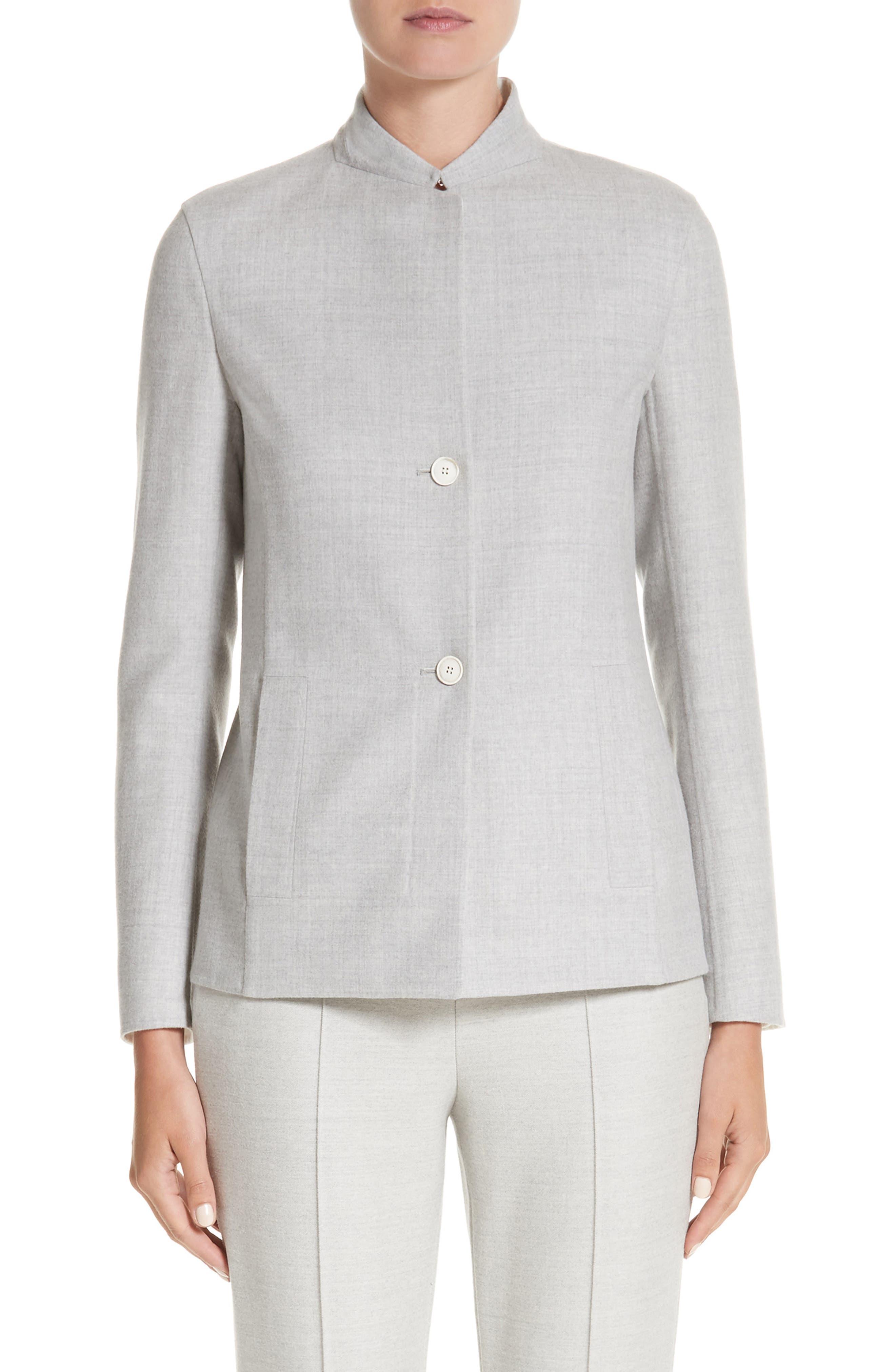 Stretch Wool & Silk Bicolor Reversible Jacket,                             Main thumbnail 1, color,                             020