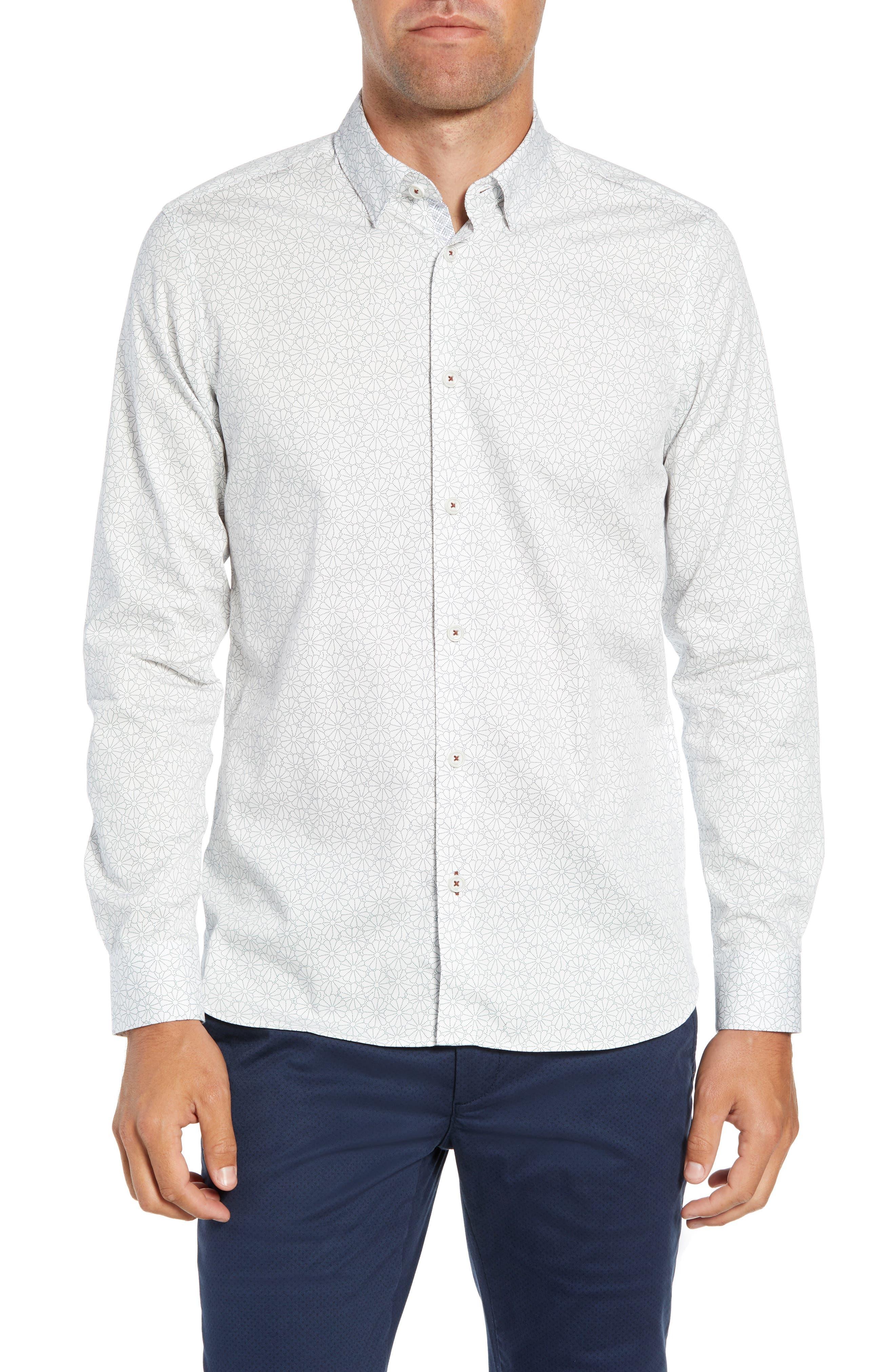 Finsbur Slim Fit Floral Sport Shirt,                             Main thumbnail 1, color,                             WHITE