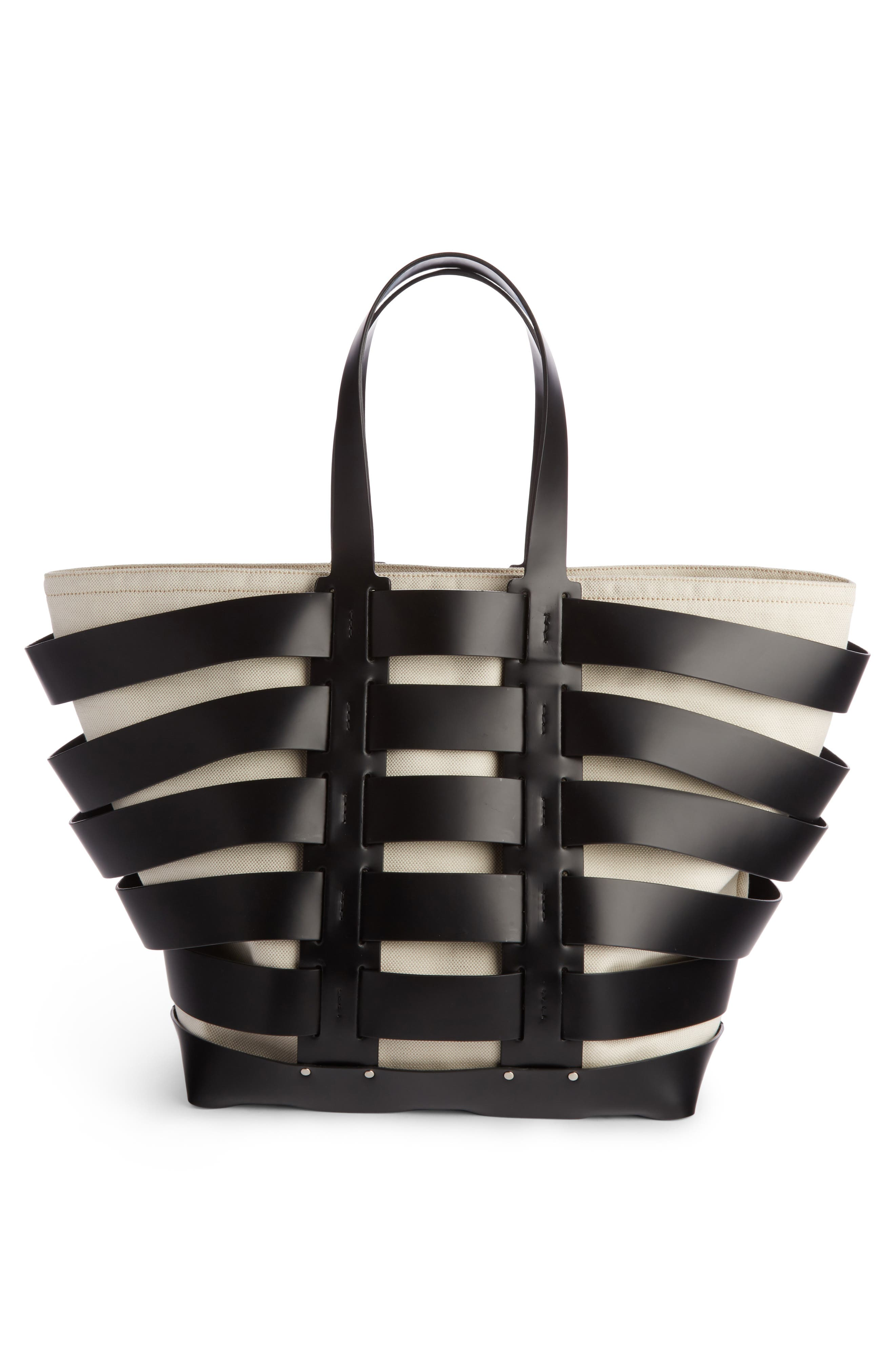 Cage Leather & Canvas Tote,                             Alternate thumbnail 2, color,                             BLACK