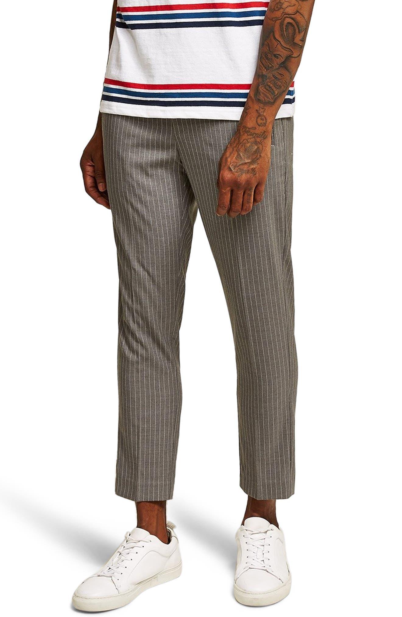 Pinstripe Jogger Pants,                             Main thumbnail 1, color,                             GREY