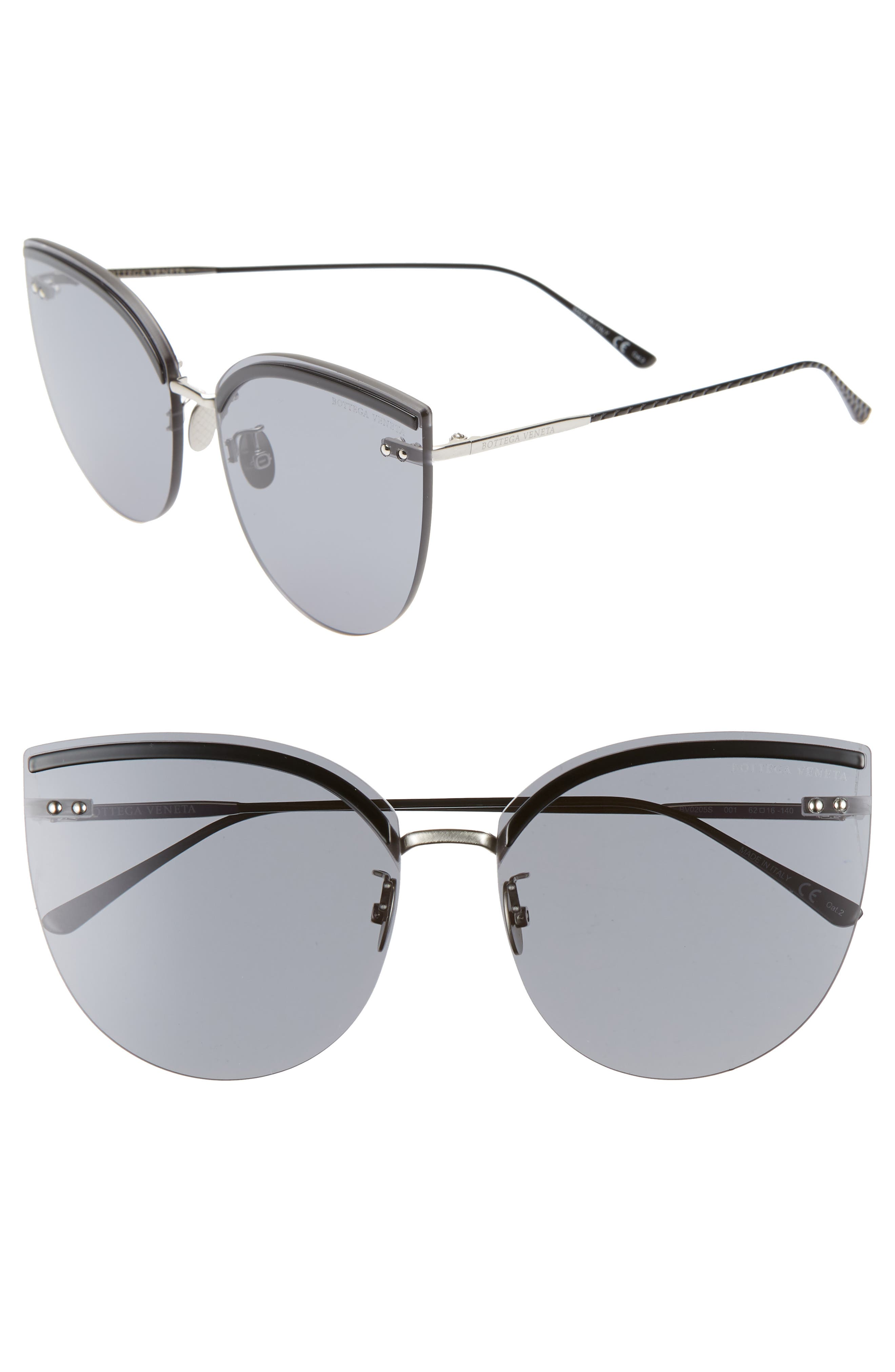 62mm Oversize Rimless Cat Eye Sunglasses, Main, color, SILVER/ BLACK