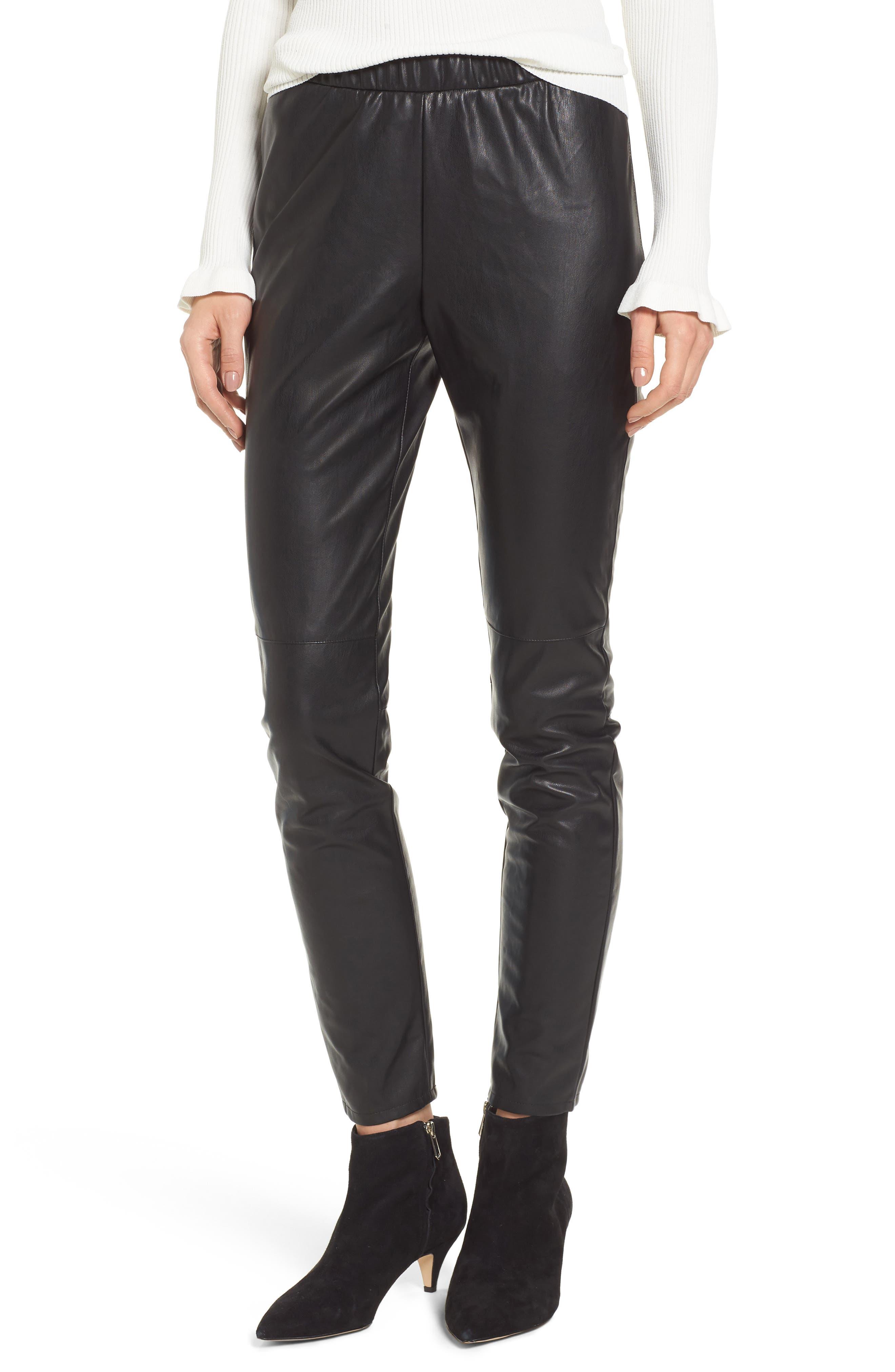 Zowie Faux Leather Pants,                         Main,                         color, 001