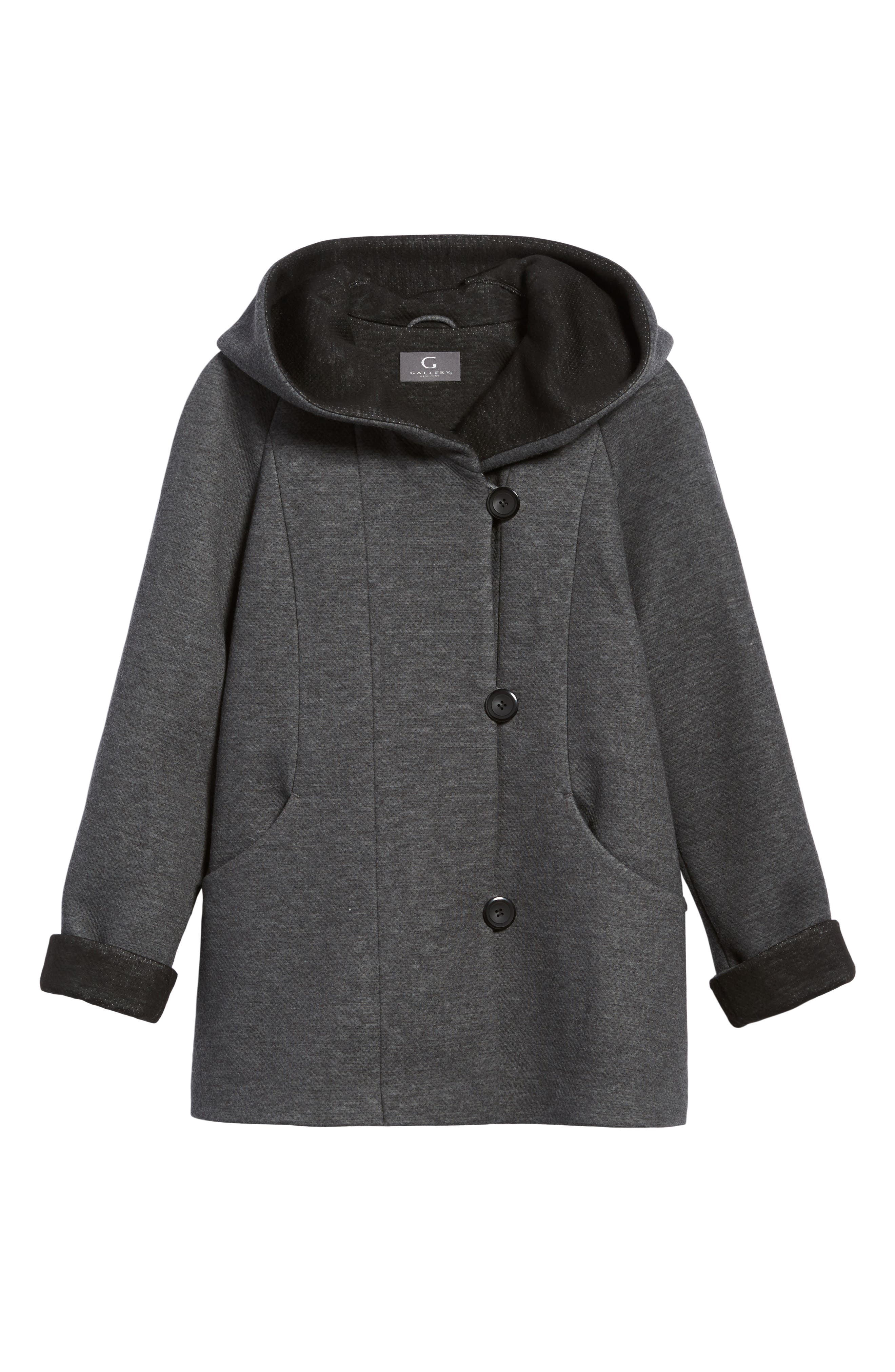 Hooded Double Face Knit Coat,                             Alternate thumbnail 5, color,                             020