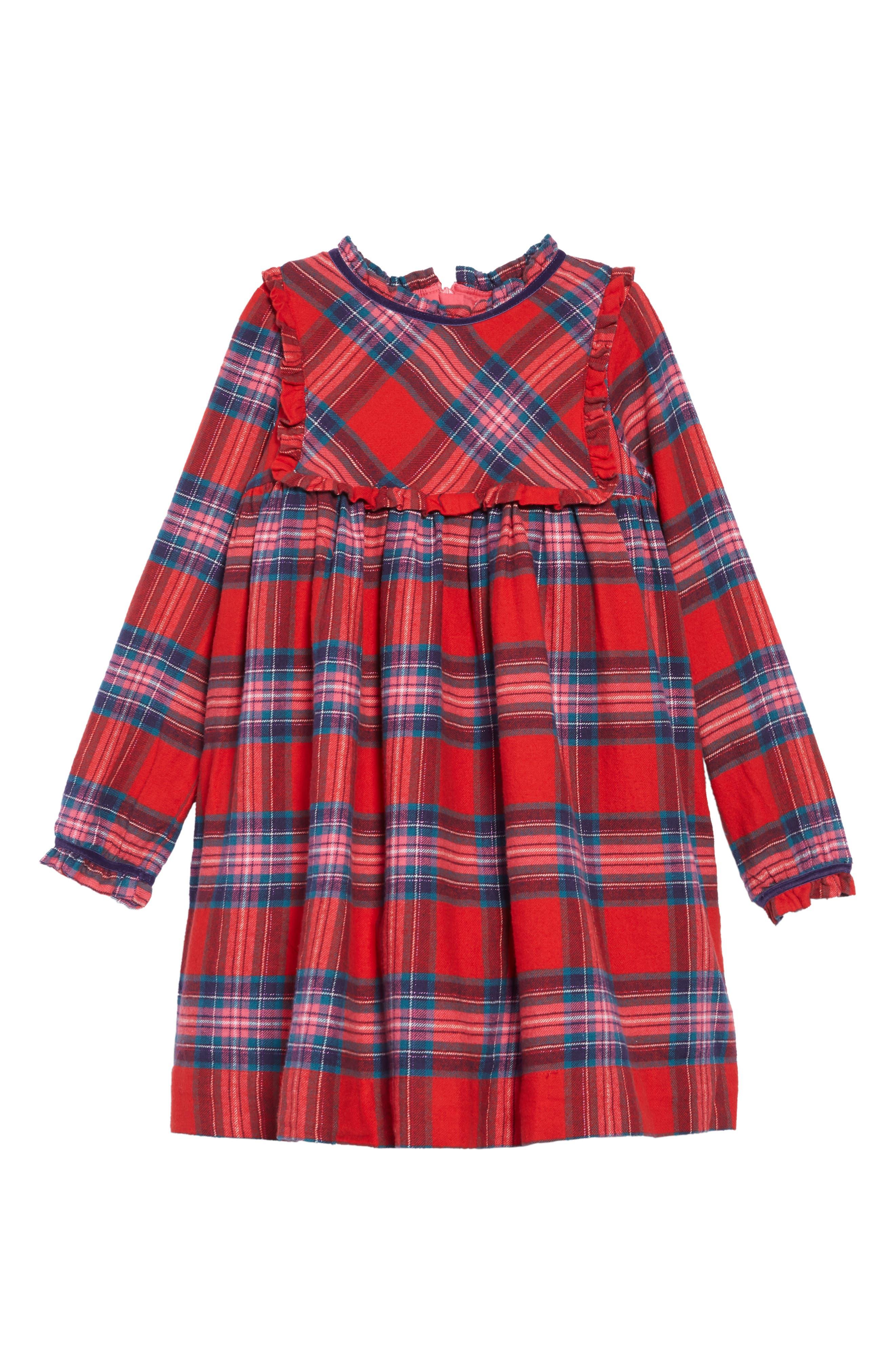 Festive Sparkle Plaid Dress,                         Main,                         color, RED ENGINE RED/ POP PINK CHECK