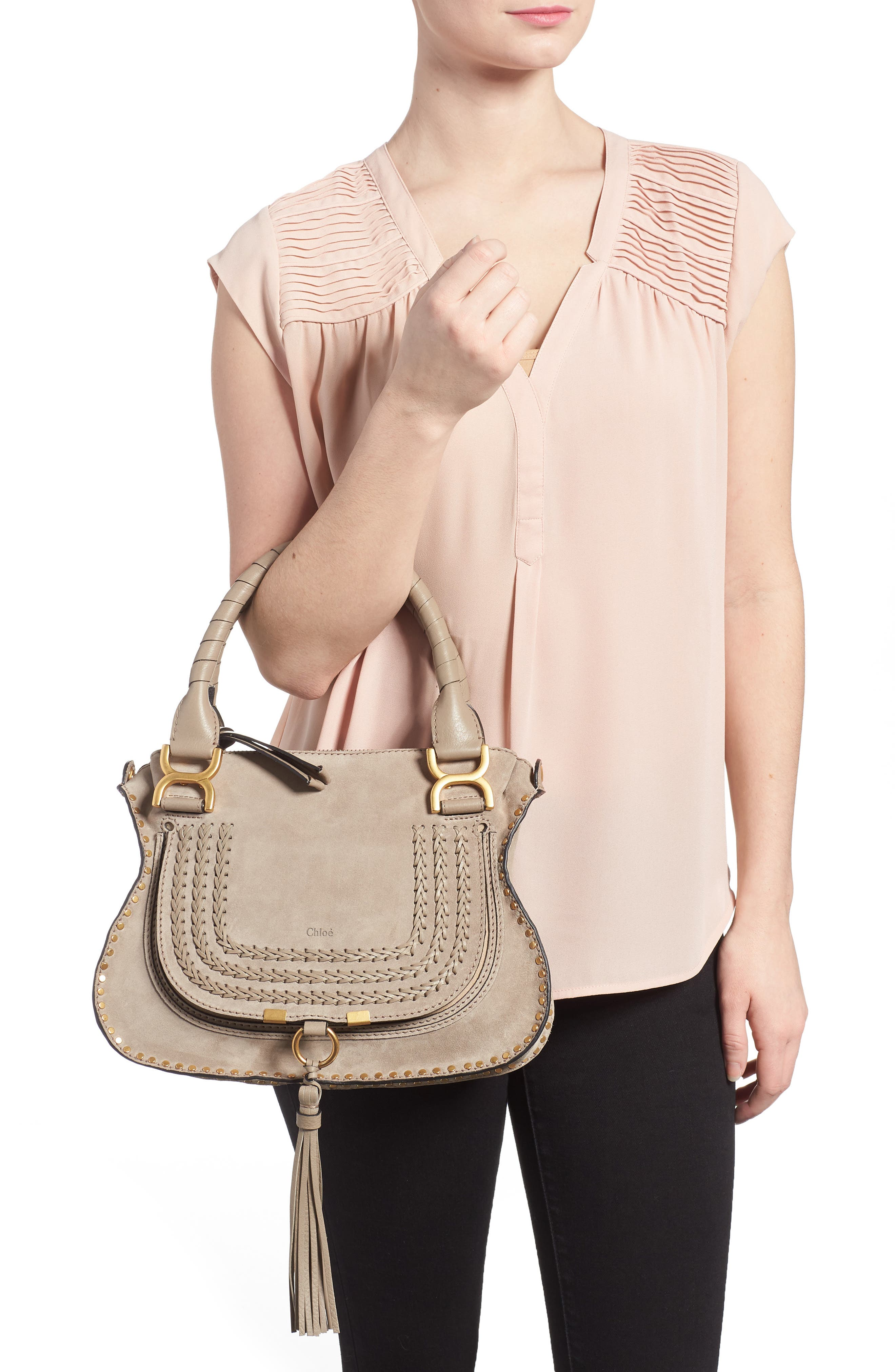 Small Marcie Suede Satchel,                             Alternate thumbnail 2, color,                             020