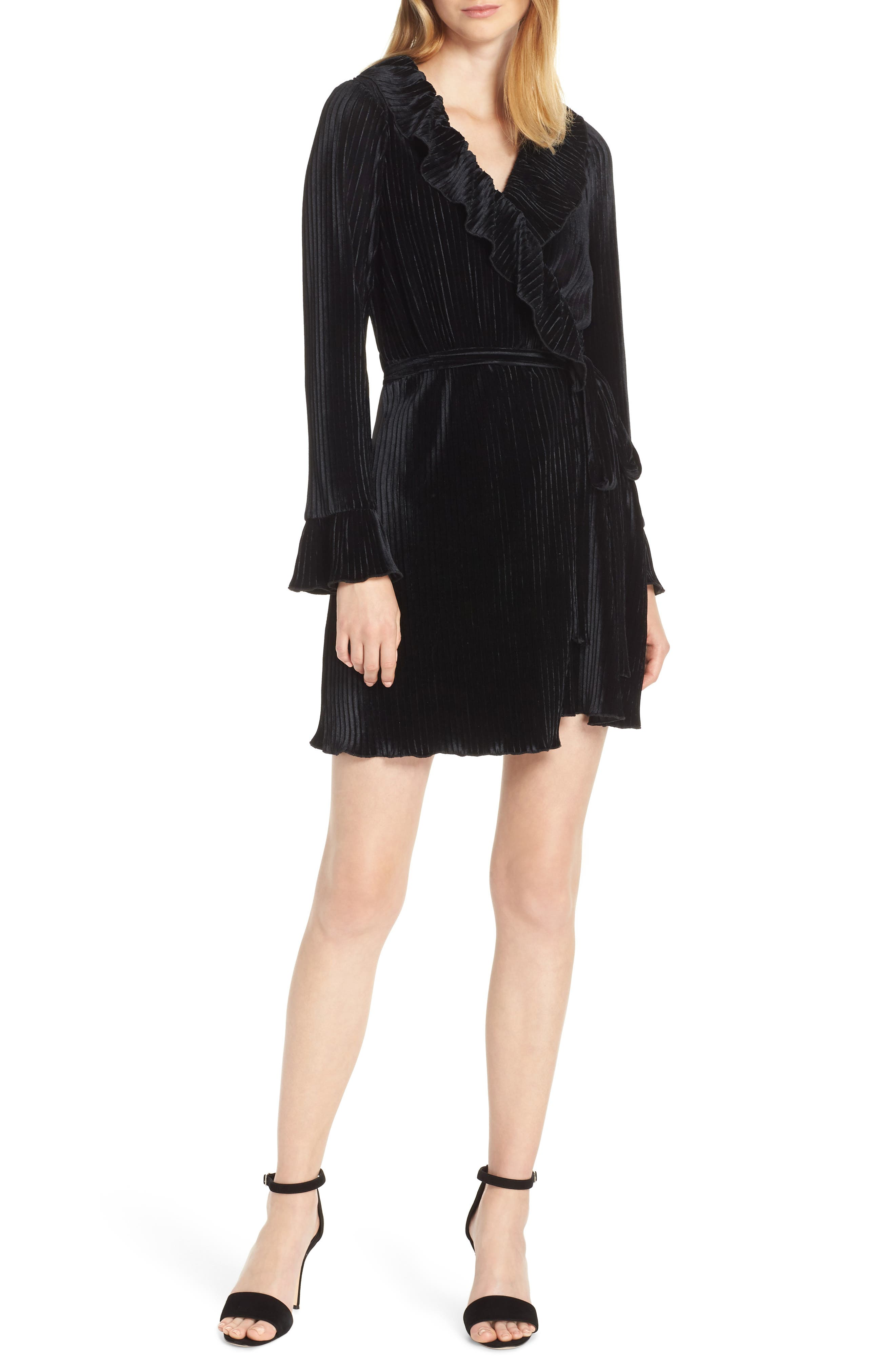 CHARLES HENRY Pleat Wrap Dress in Black Velvet