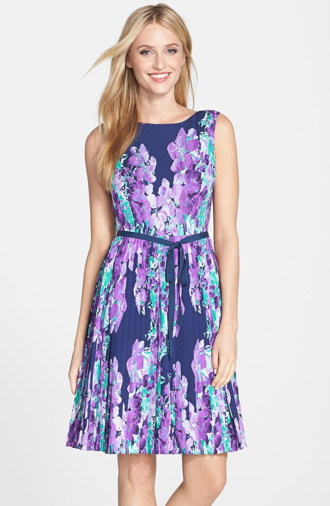 ADRIANNA PAPELL Floral Print Pleat Fit & Flare Dress, Main, color, 468
