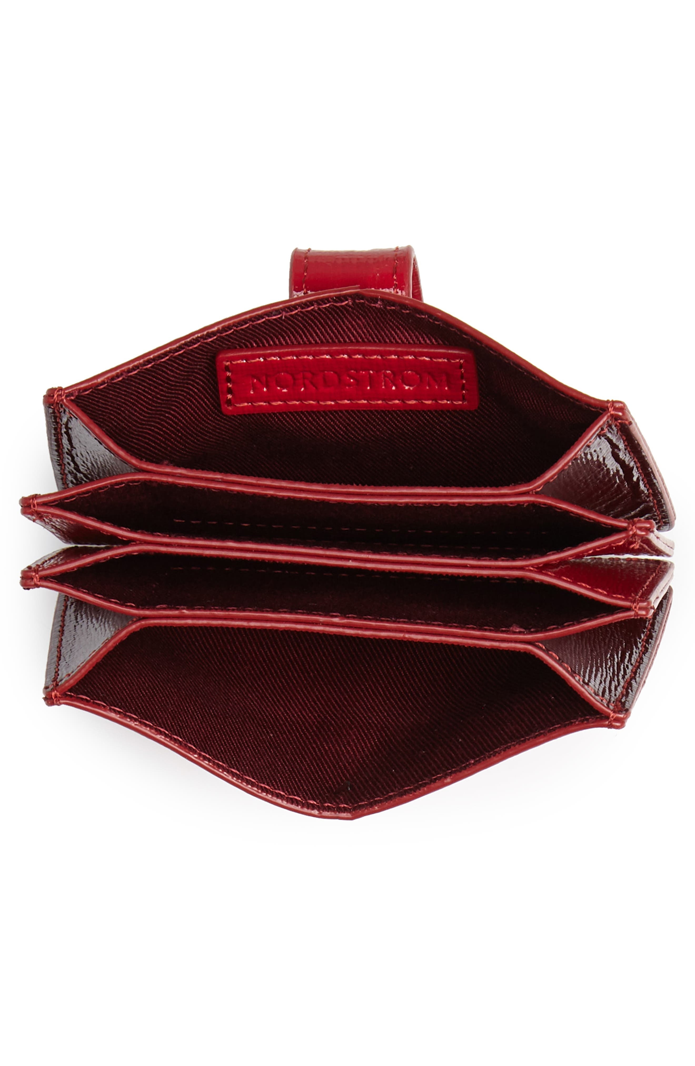 Accordion Leather Card Case,                             Alternate thumbnail 2, color,                             RED JESTER