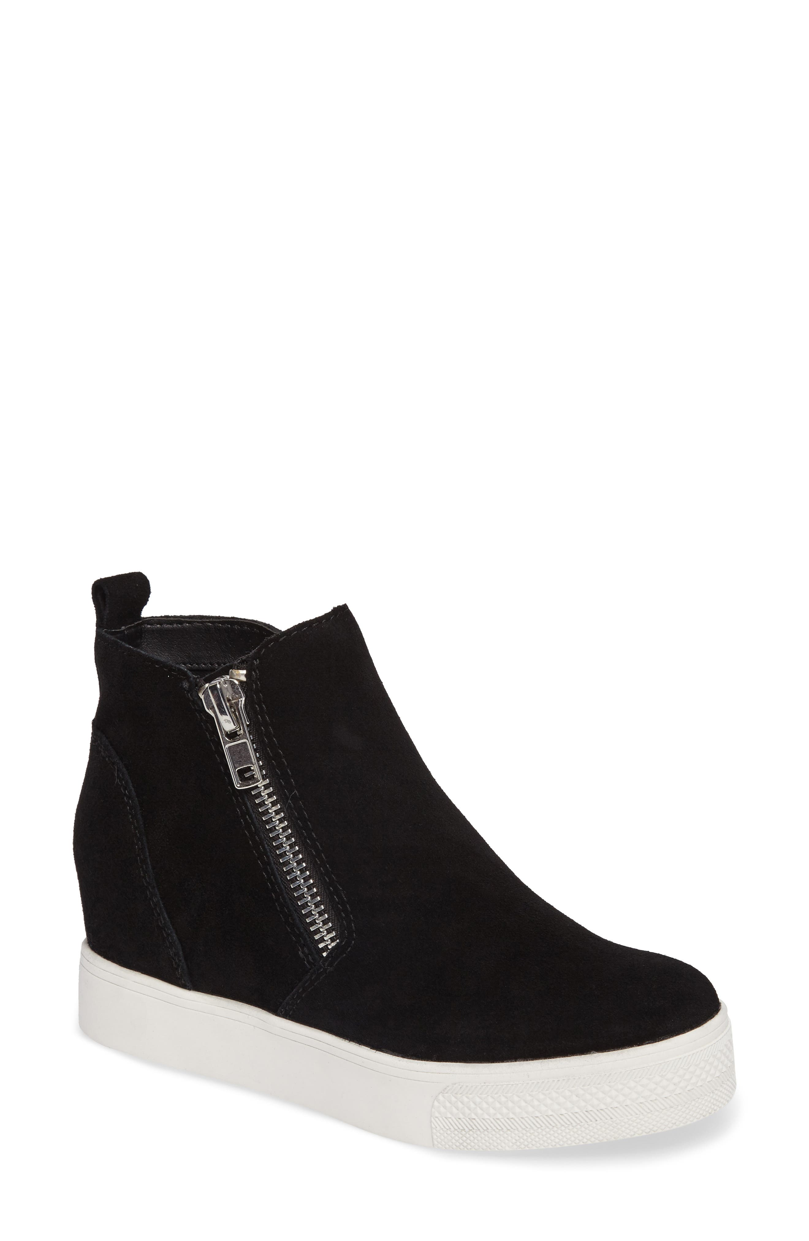 Wedgie High Top Platform Sneaker,                             Main thumbnail 1, color,                             BLACK SUEDE