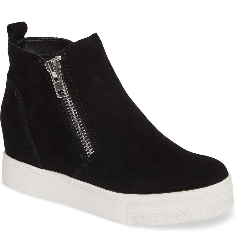 Wedgie High Top Platform Sneaker, Main, color, BLACK SUEDE