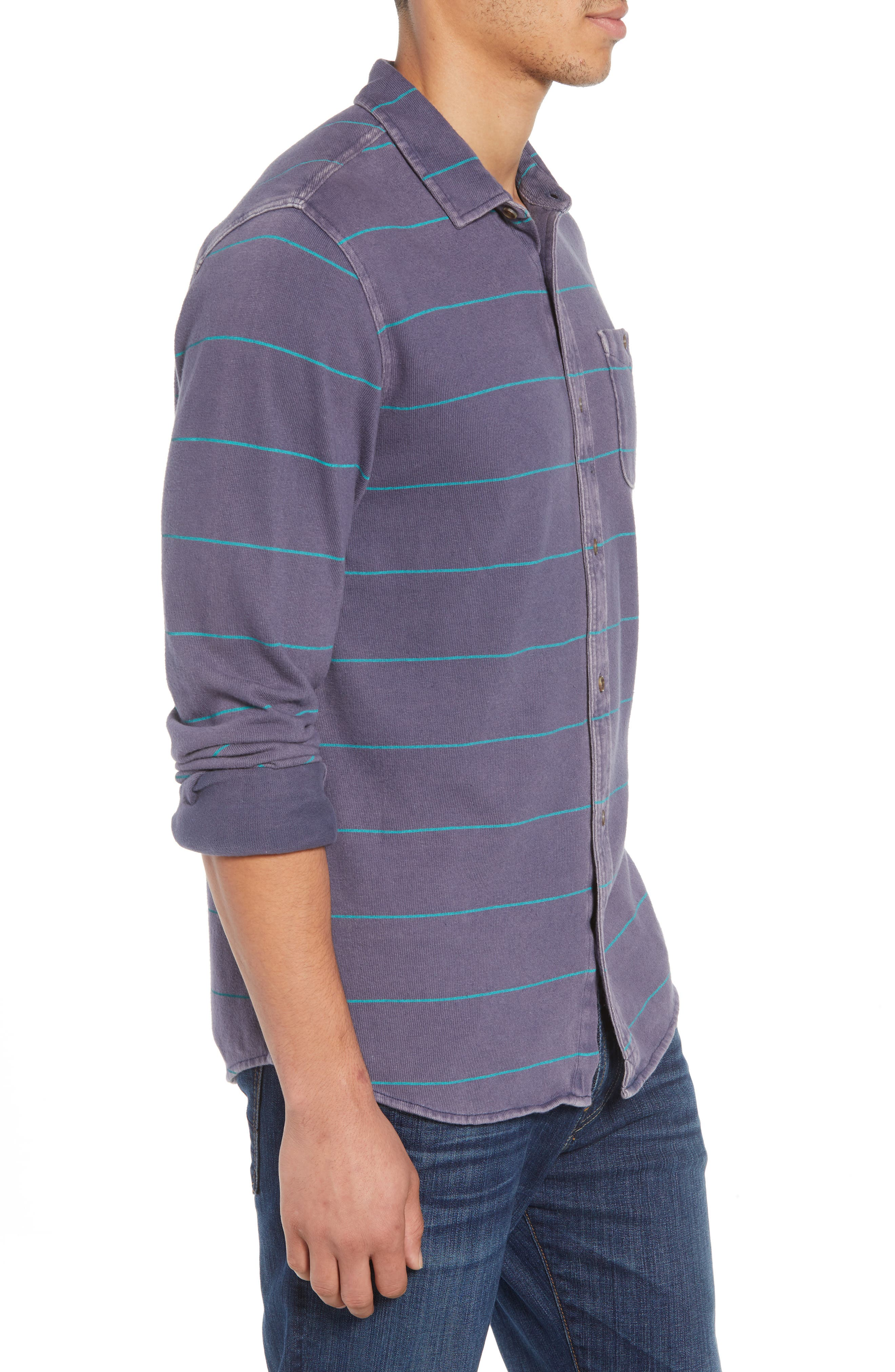 Cowell Knit Button-Up Shirt,                             Alternate thumbnail 3, color,                             NAVY