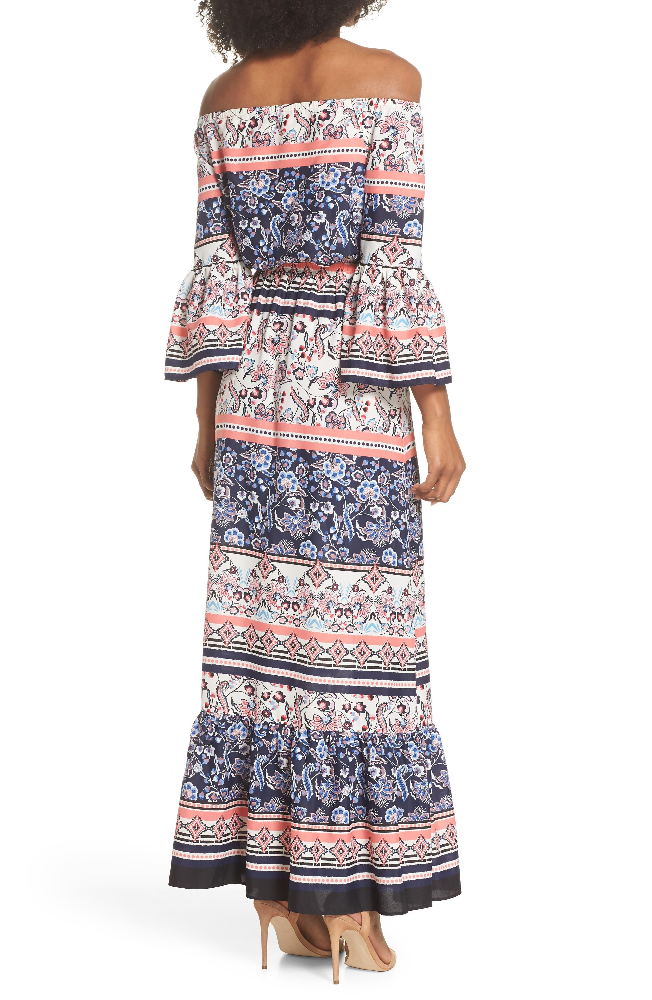 Off the Shoulder Tie Waist Maxi Dress,                             Alternate thumbnail 2, color,                             470