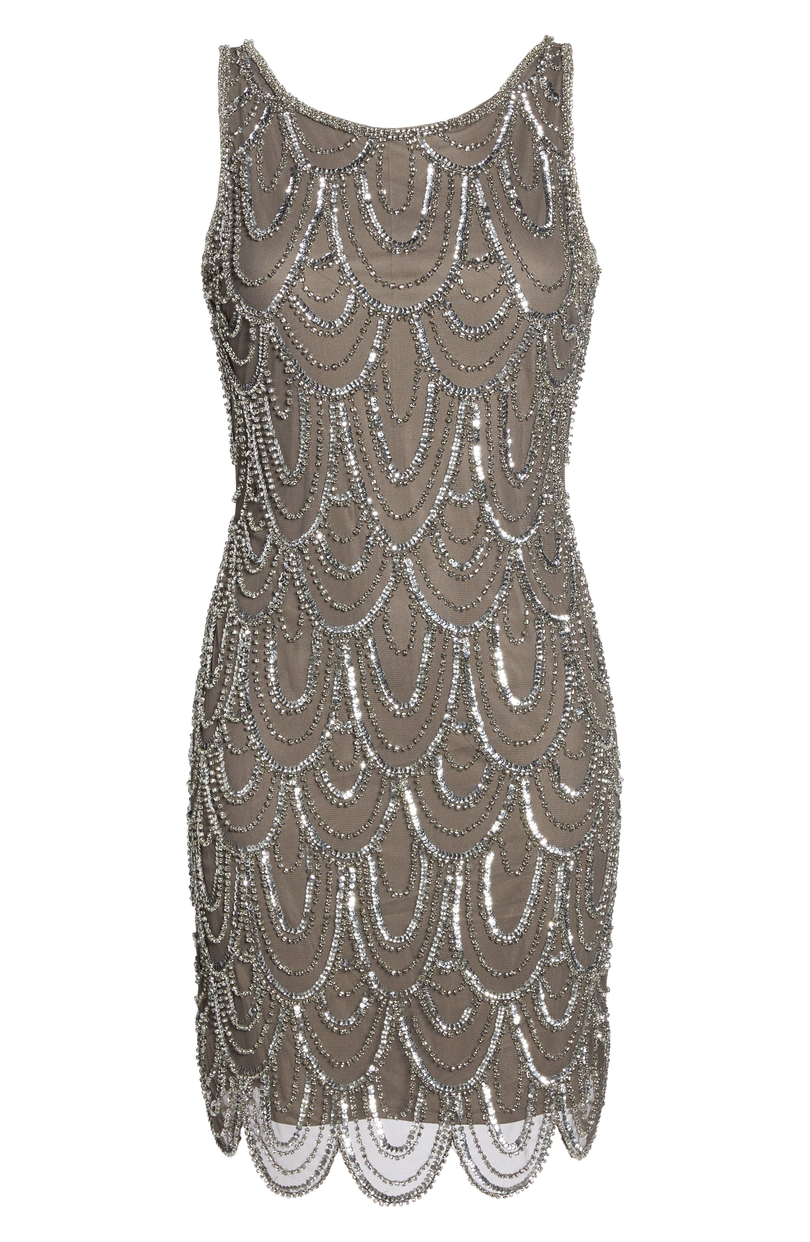 Embellished Mesh Sheath Dress,                             Alternate thumbnail 7, color,                             073