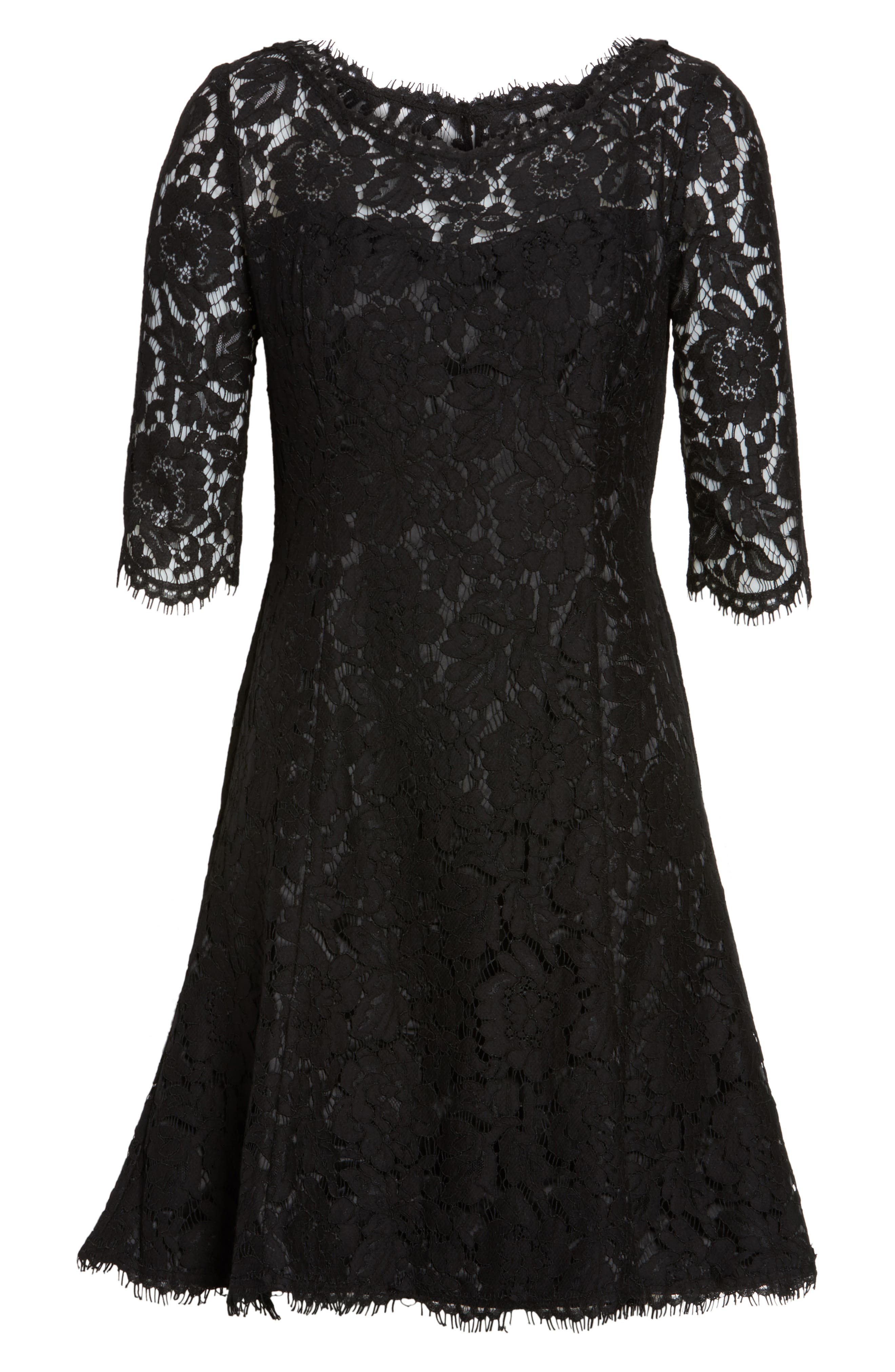 Lace Fit & Flare Cocktail Dress,                             Alternate thumbnail 8, color,                             BLACK