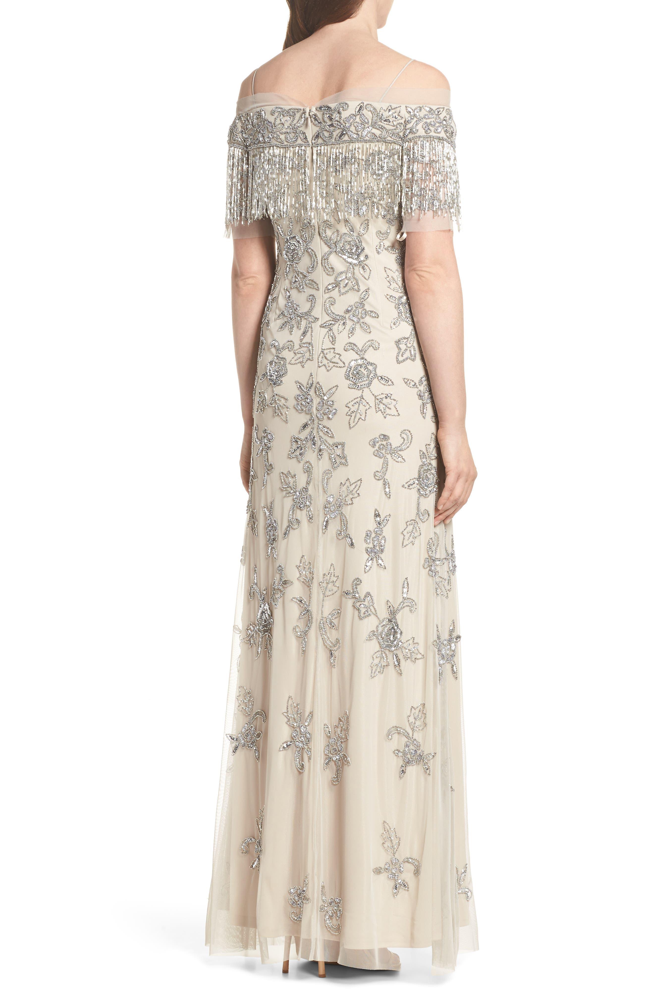 Fringe Bead Cold Shoulder Gown,                             Alternate thumbnail 2, color,
