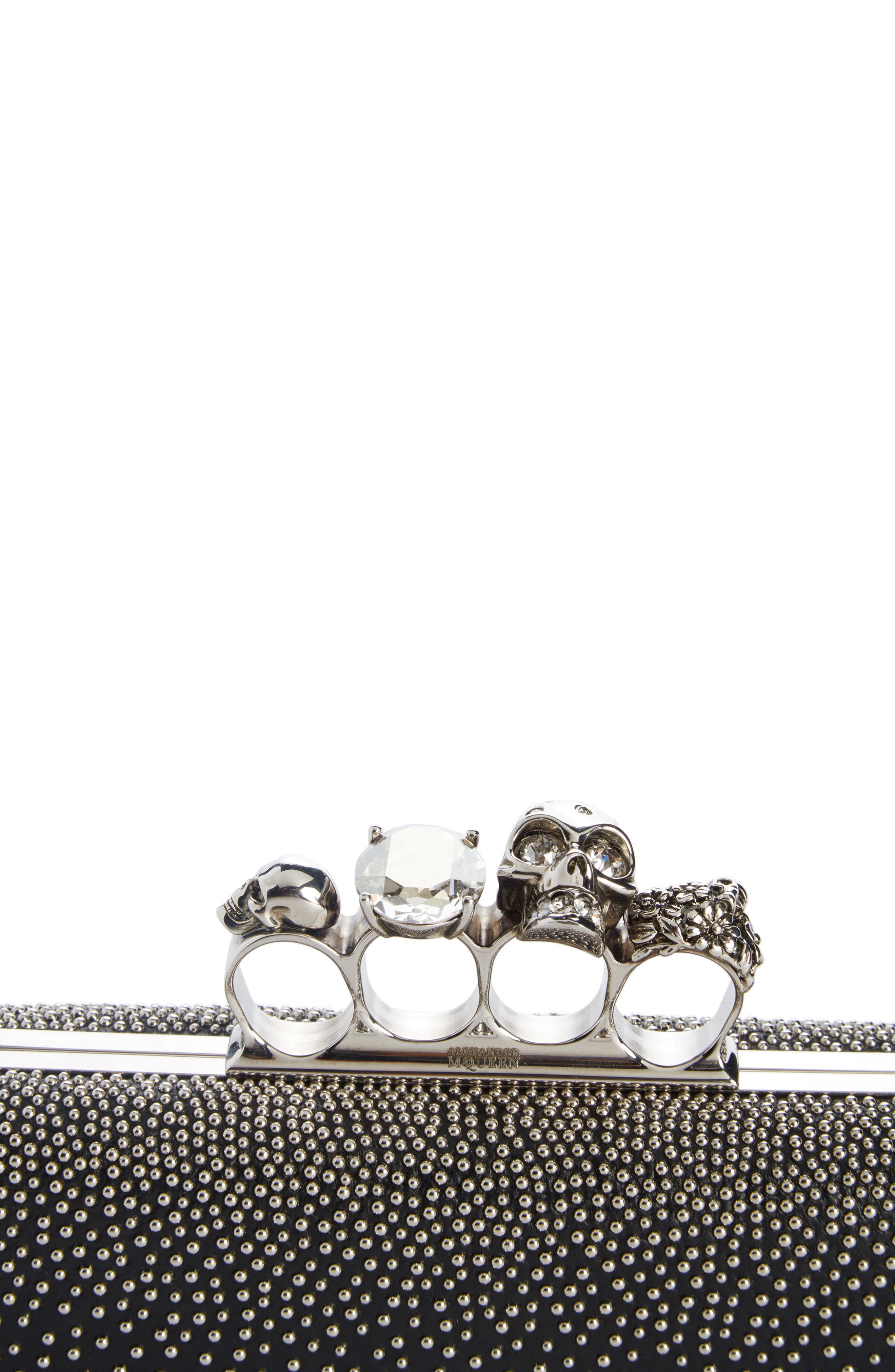 Studded Lambskin Leather Knuckle Clutch,                             Alternate thumbnail 4, color,                             BLACK