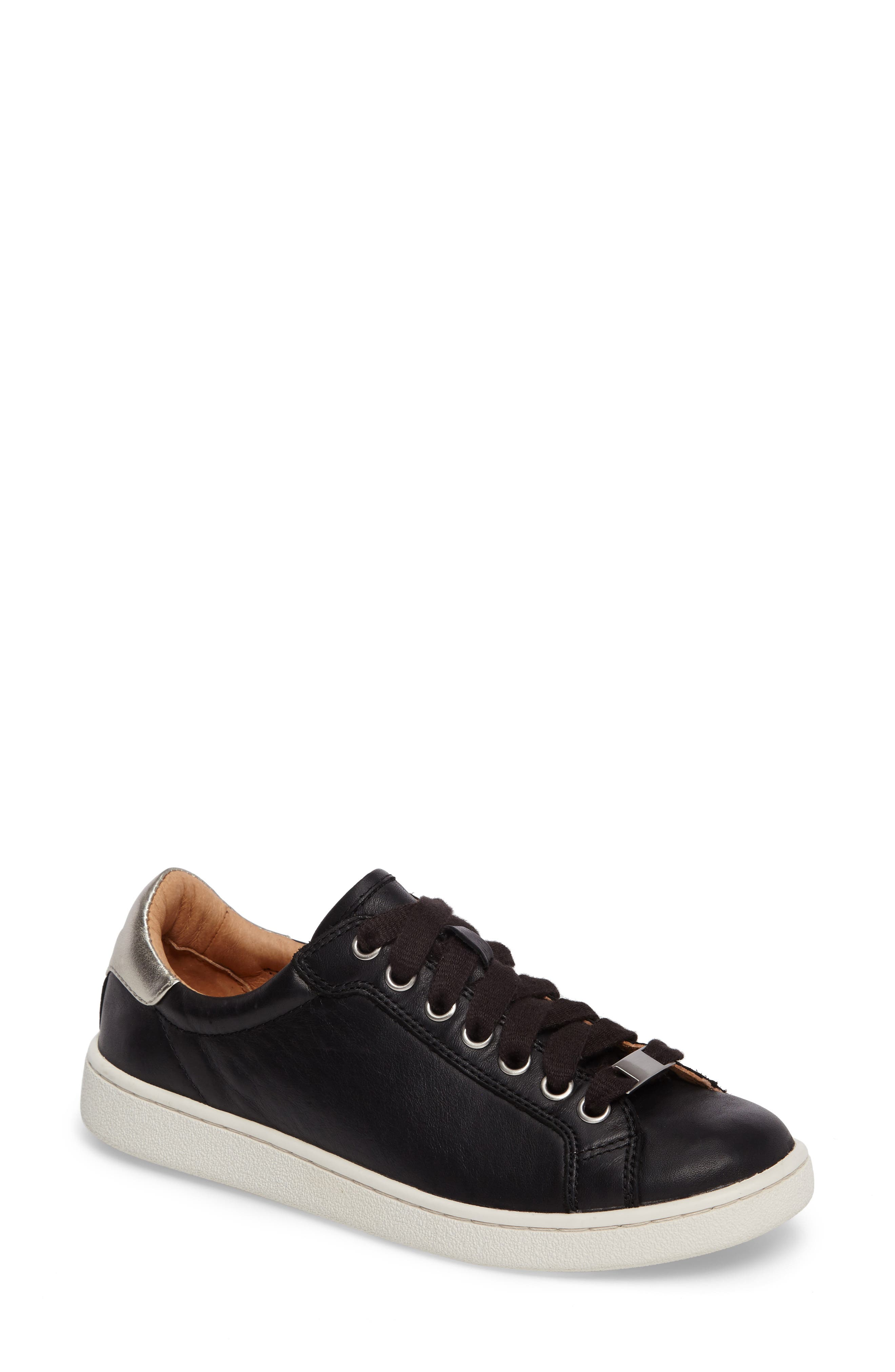 Milo Sneaker,                         Main,                         color, BLACK LEATHER
