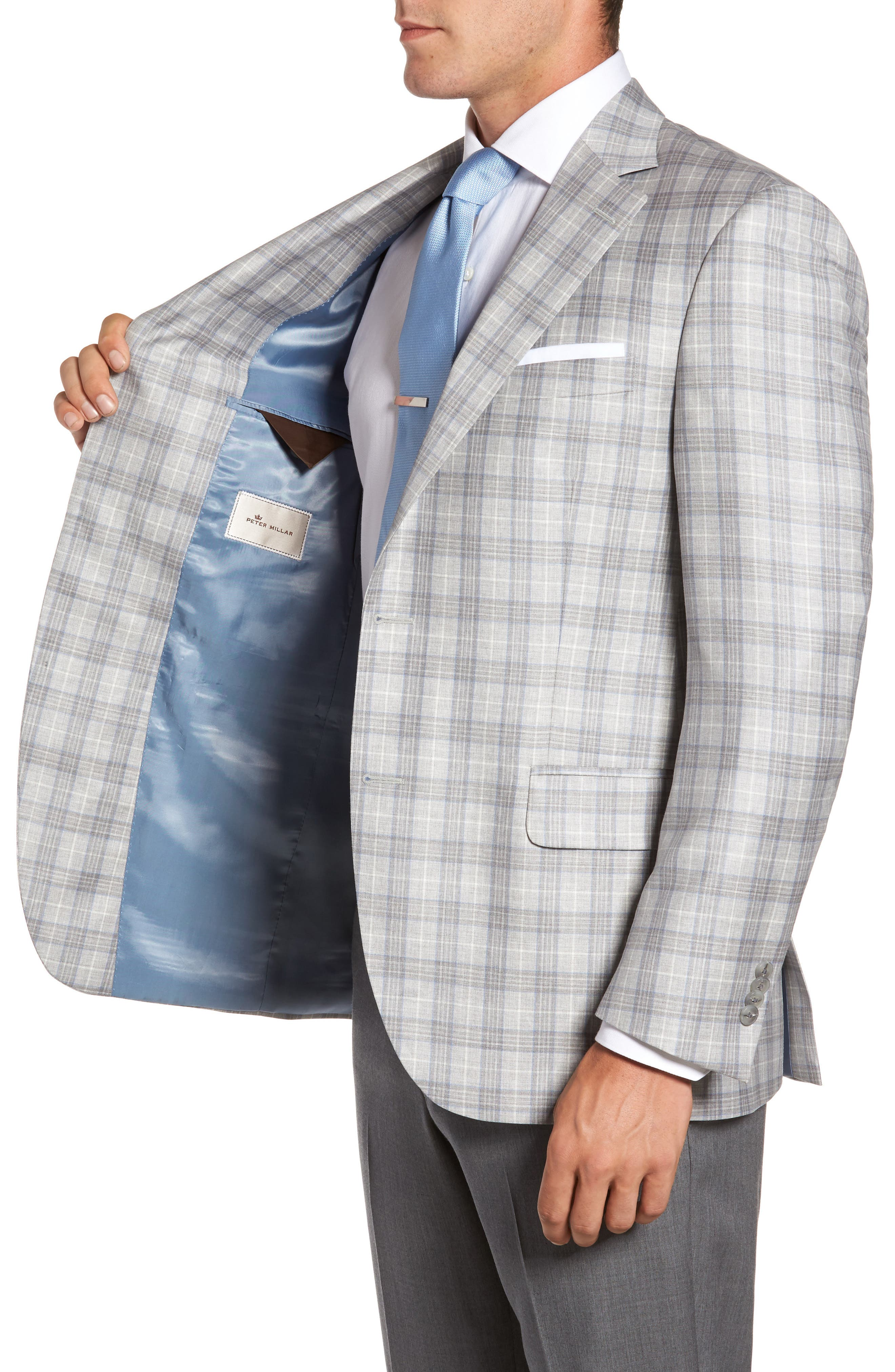 Flynn Classic Fit Plaid Wool Sport Coat,                             Alternate thumbnail 3, color,                             020