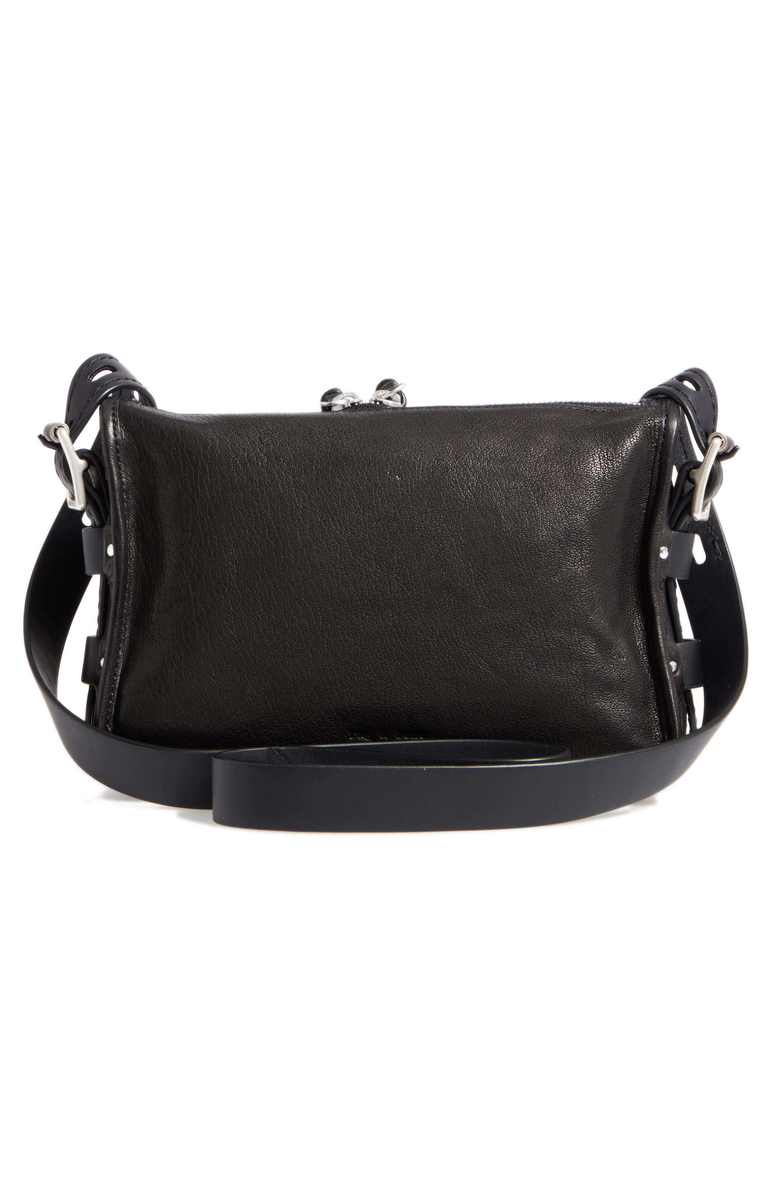 Small Field Leather Messenger Bag,                             Alternate thumbnail 3, color,                             BLACK