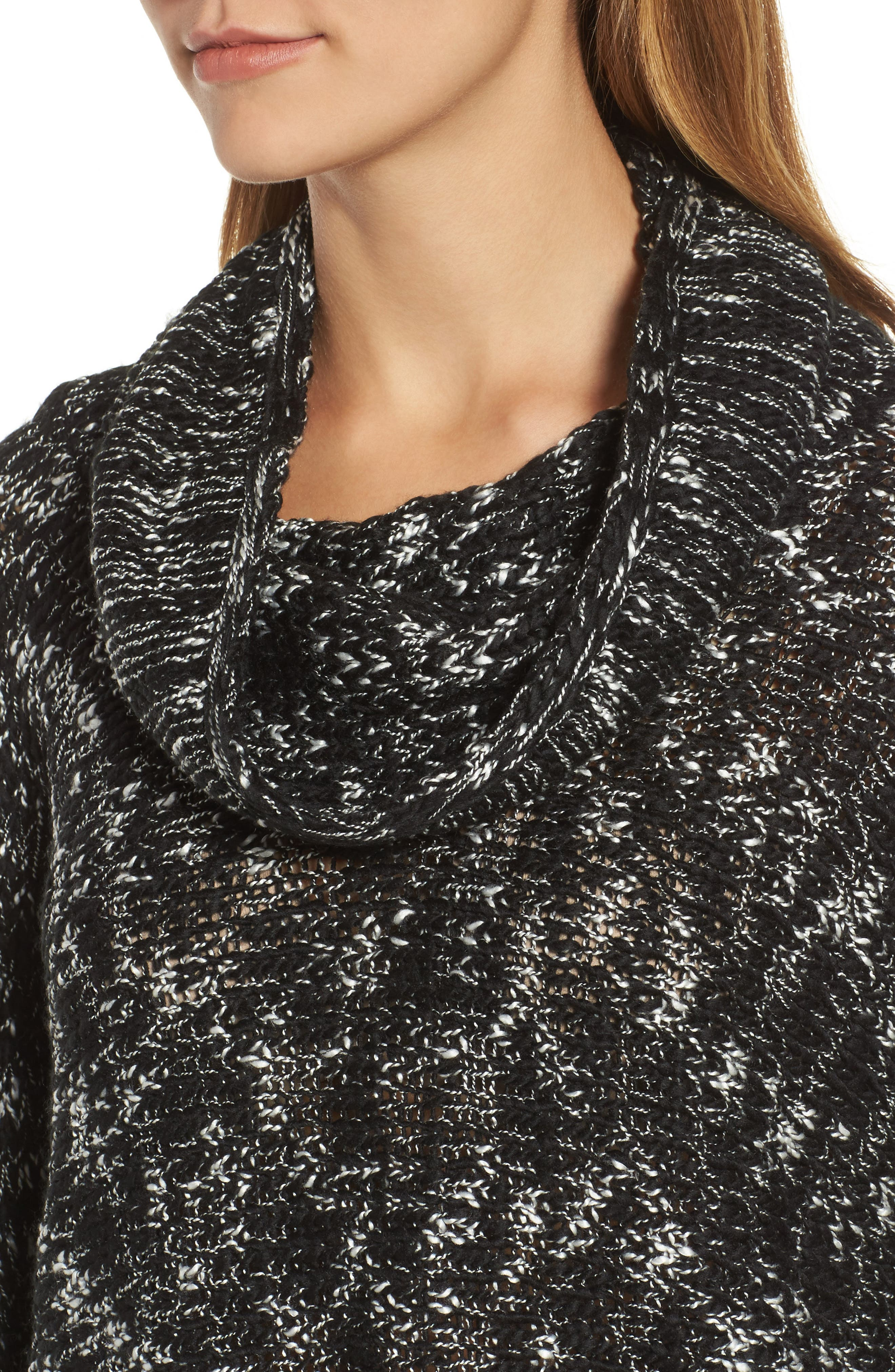 Cowl Neck Patch Sleeve Sweater,                             Alternate thumbnail 4, color,                             001
