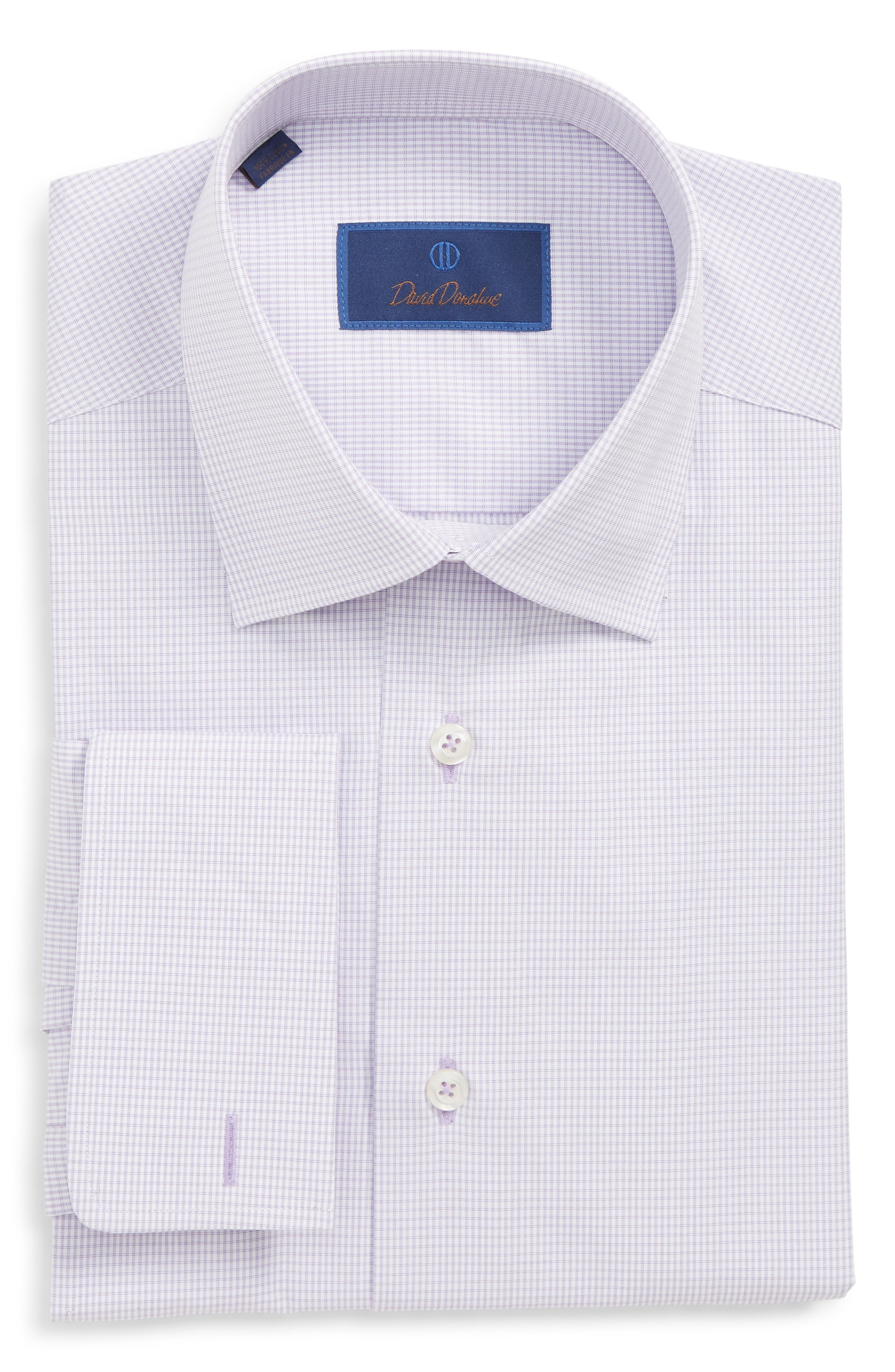 DAVID DONAHUE Men'S Regular-Fit Micro-Gingham Dress Shirt With French Cuffs in Lilac