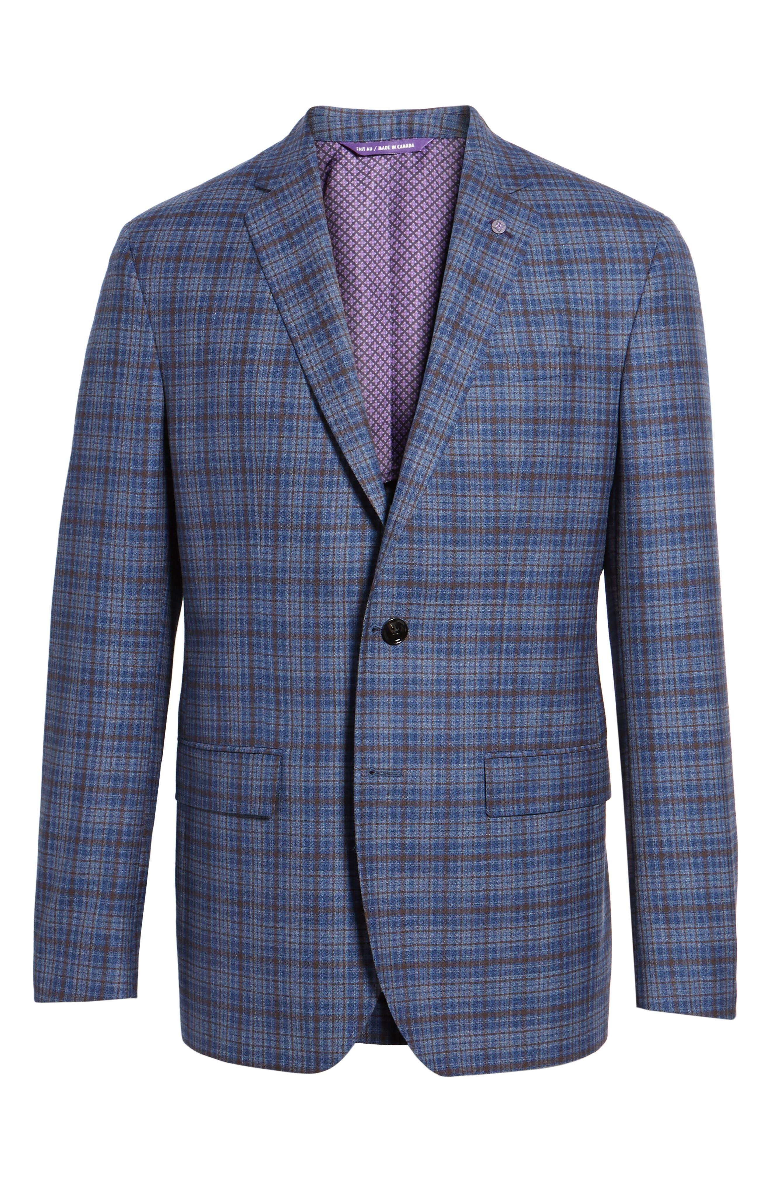 Konan Trim Fit Plaid Wool Sport Coat,                             Alternate thumbnail 5, color,