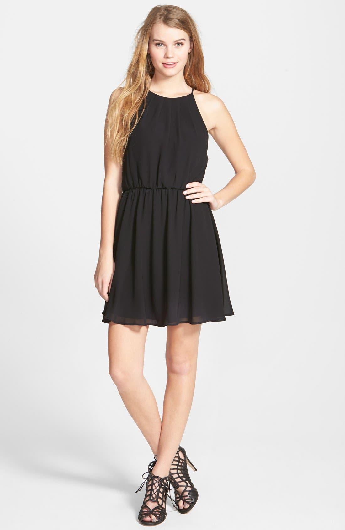 Blouson Chiffon Skater Dress,                         Main,                         color, 001