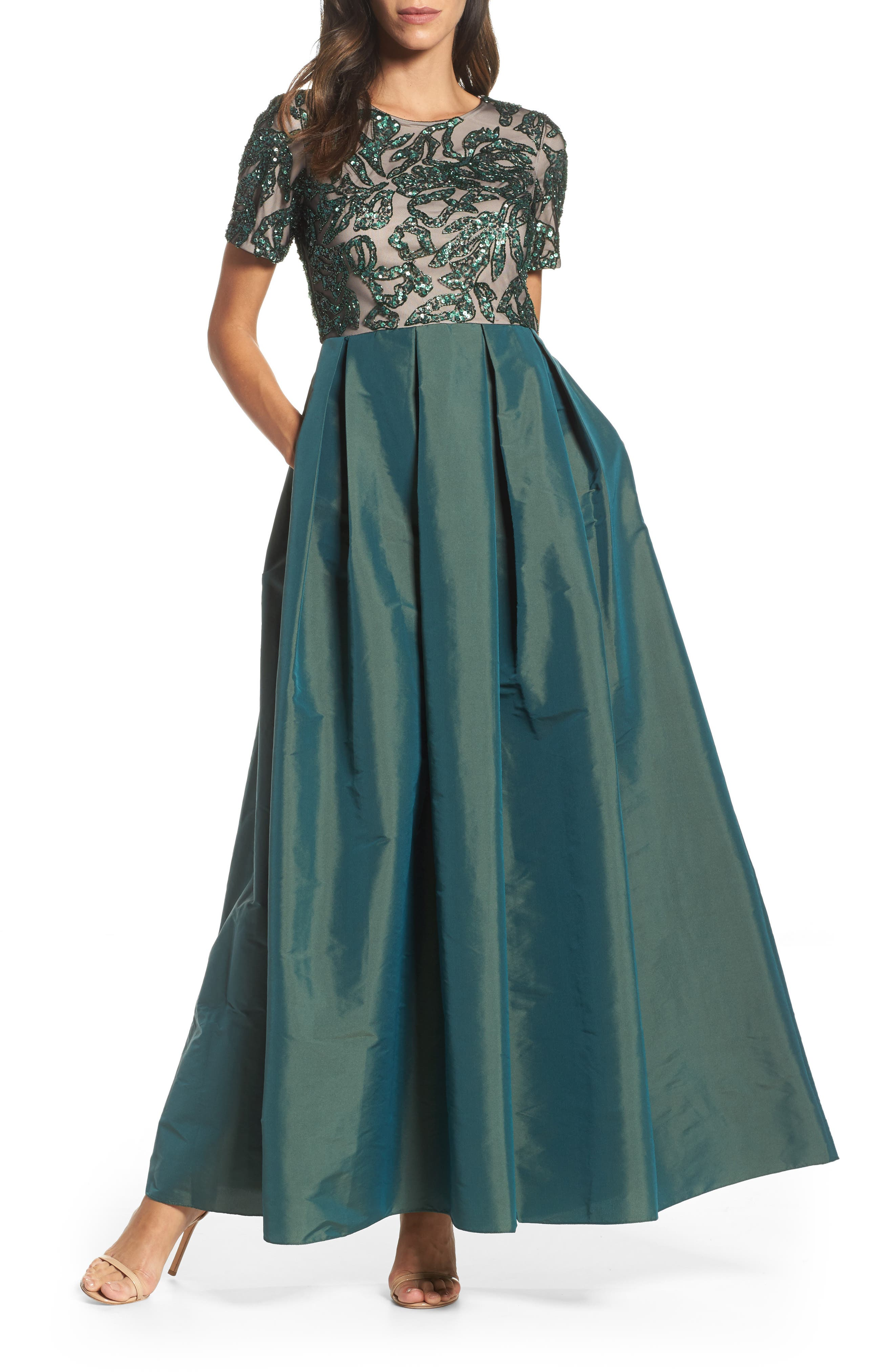 Beaded Pleated Gown,                             Main thumbnail 1, color,                             302