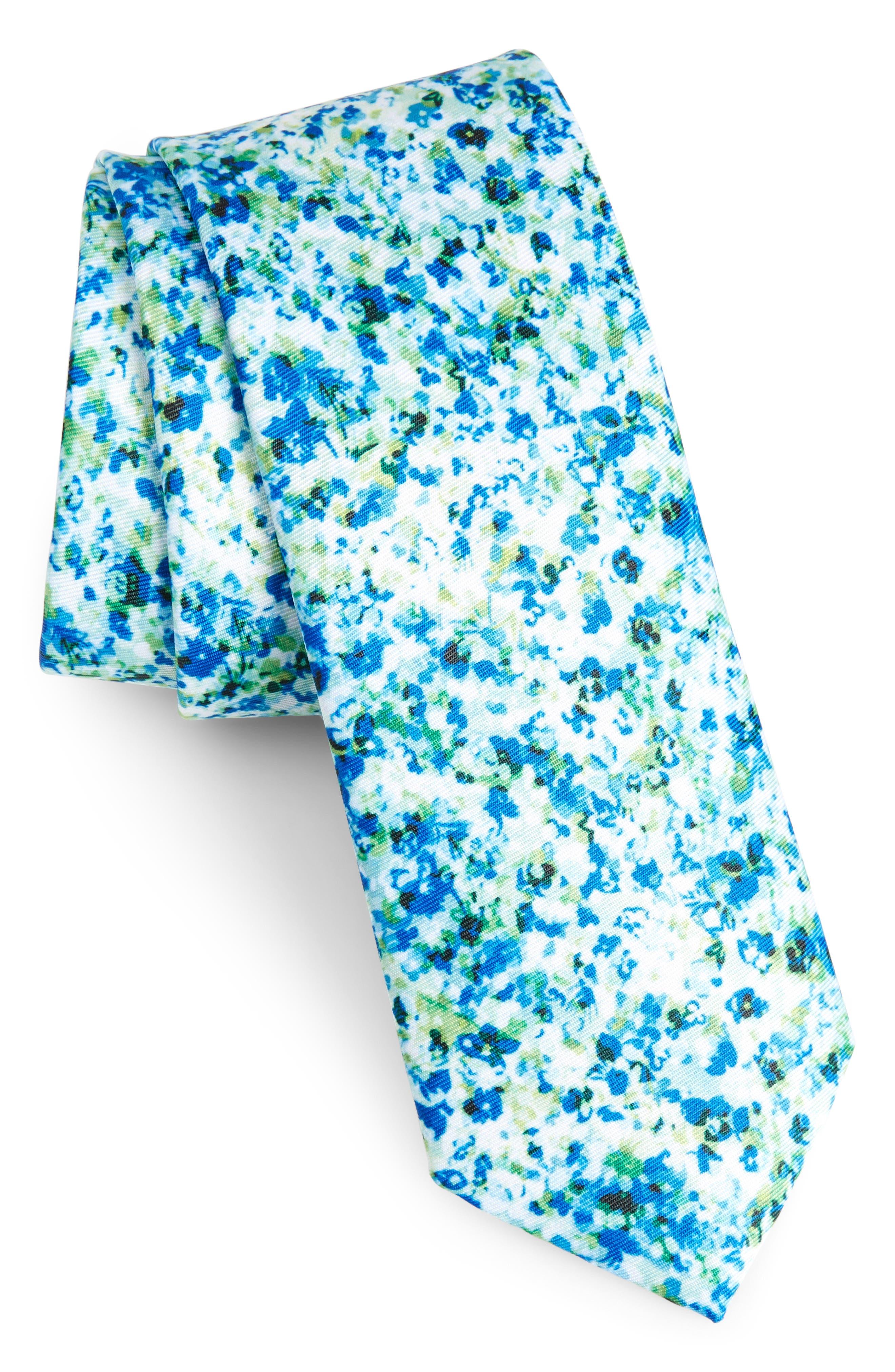 Marquette Floral Skinny Tie,                         Main,                         color, 300