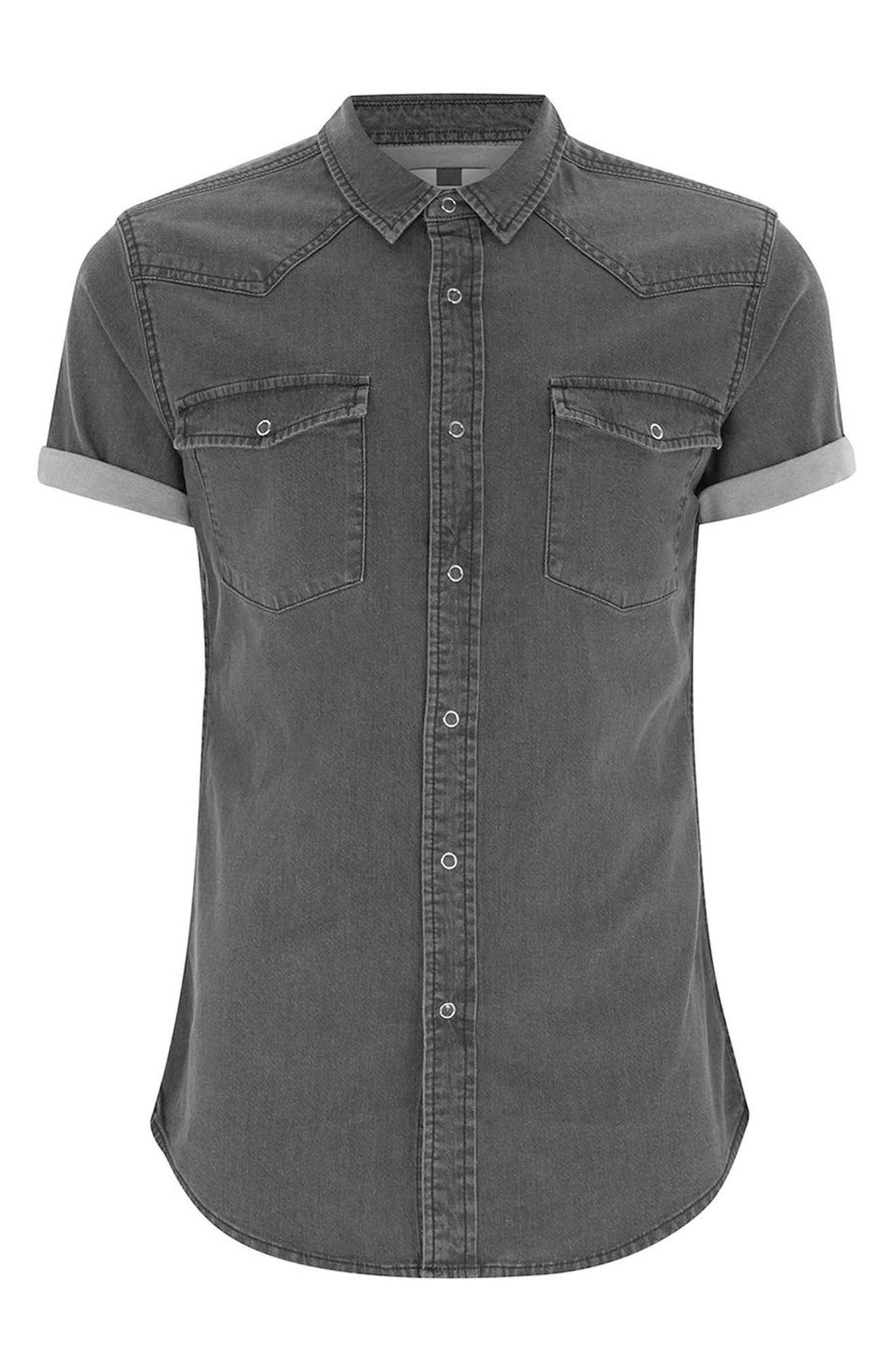 Muscle Fit Denim Shirt,                             Alternate thumbnail 4, color,                             001