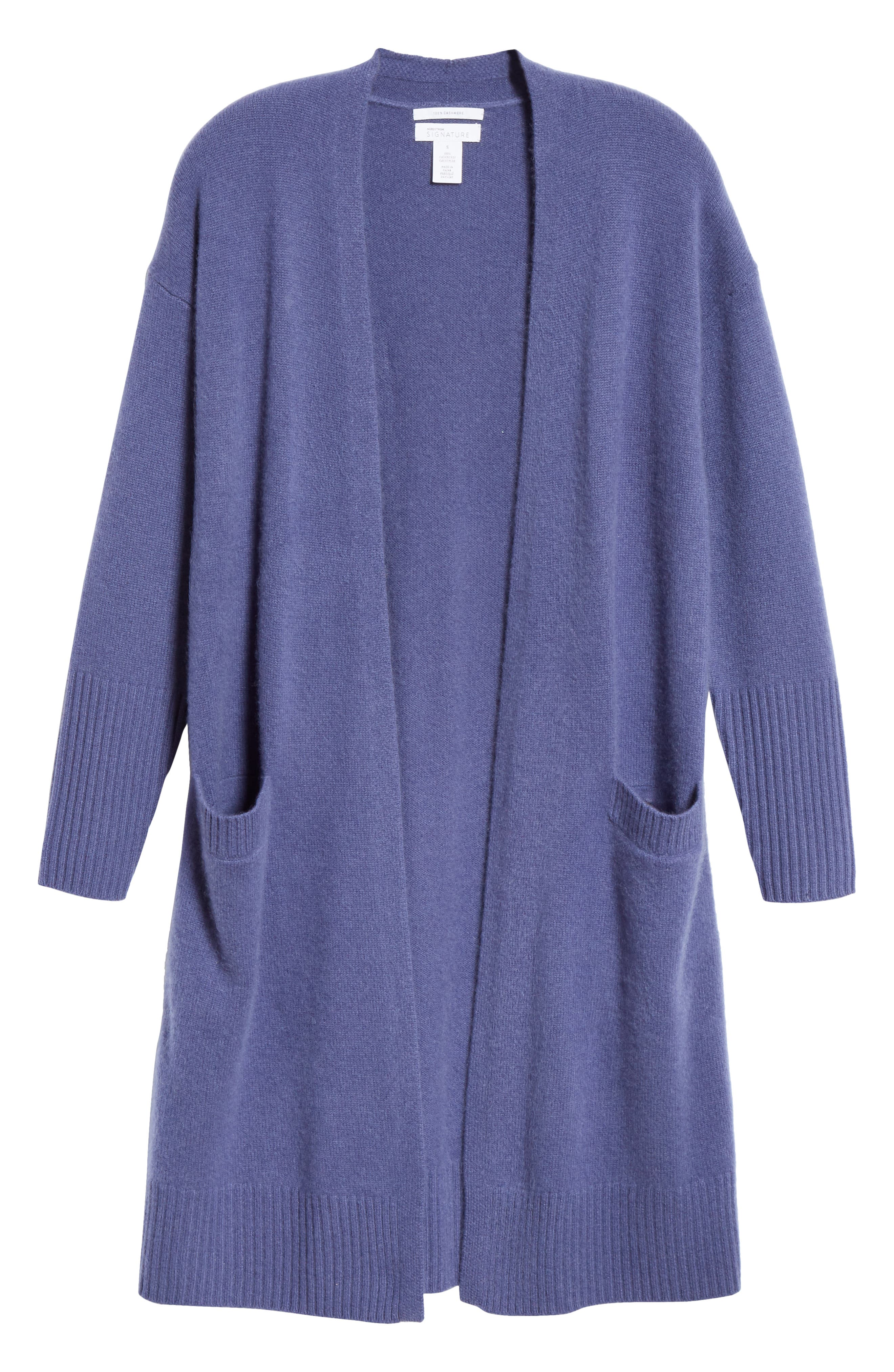 Boiled Cashmere Open Cardigan,                             Alternate thumbnail 6, color,                             BLUE MARLIN