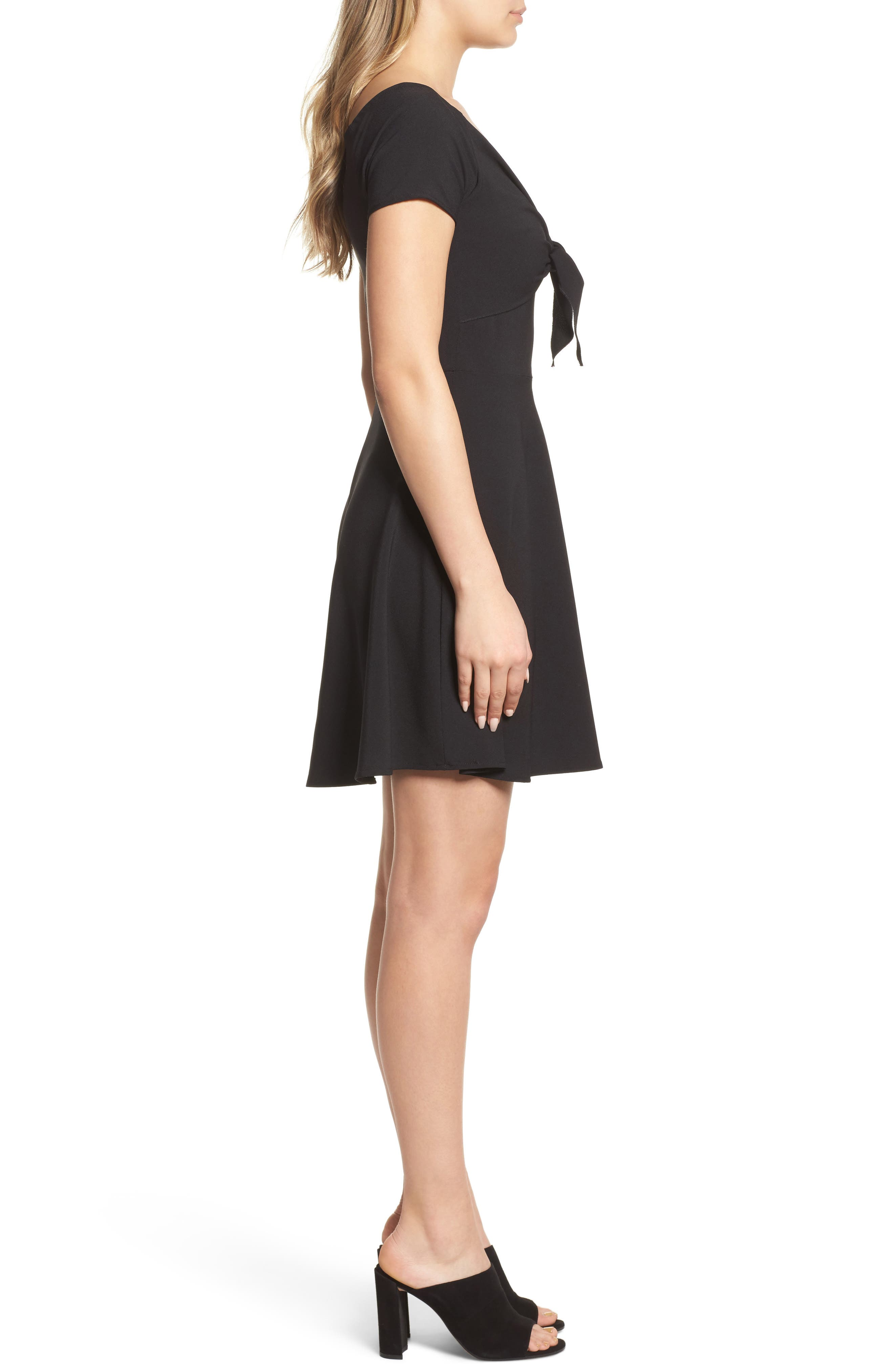 Tie Front Crepe Fit & Flare Dress,                             Alternate thumbnail 3, color,                             001