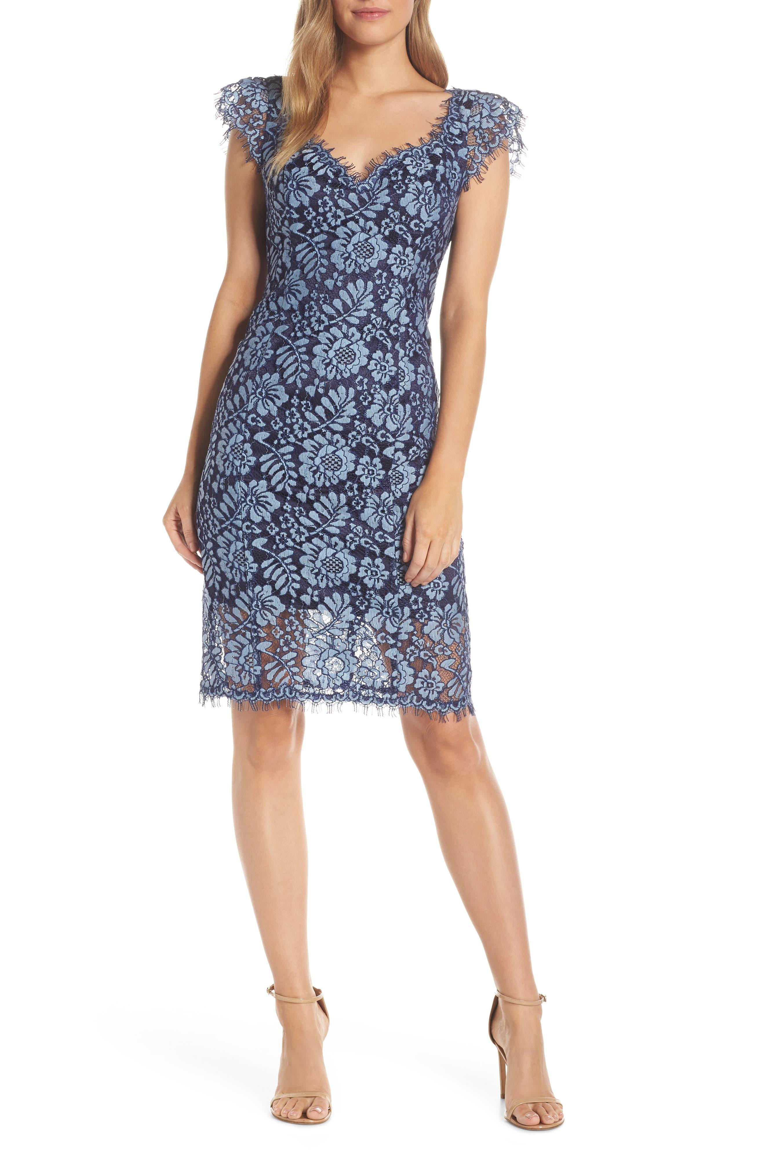 Eliza J Floral Lace Sheath Dress, Blue