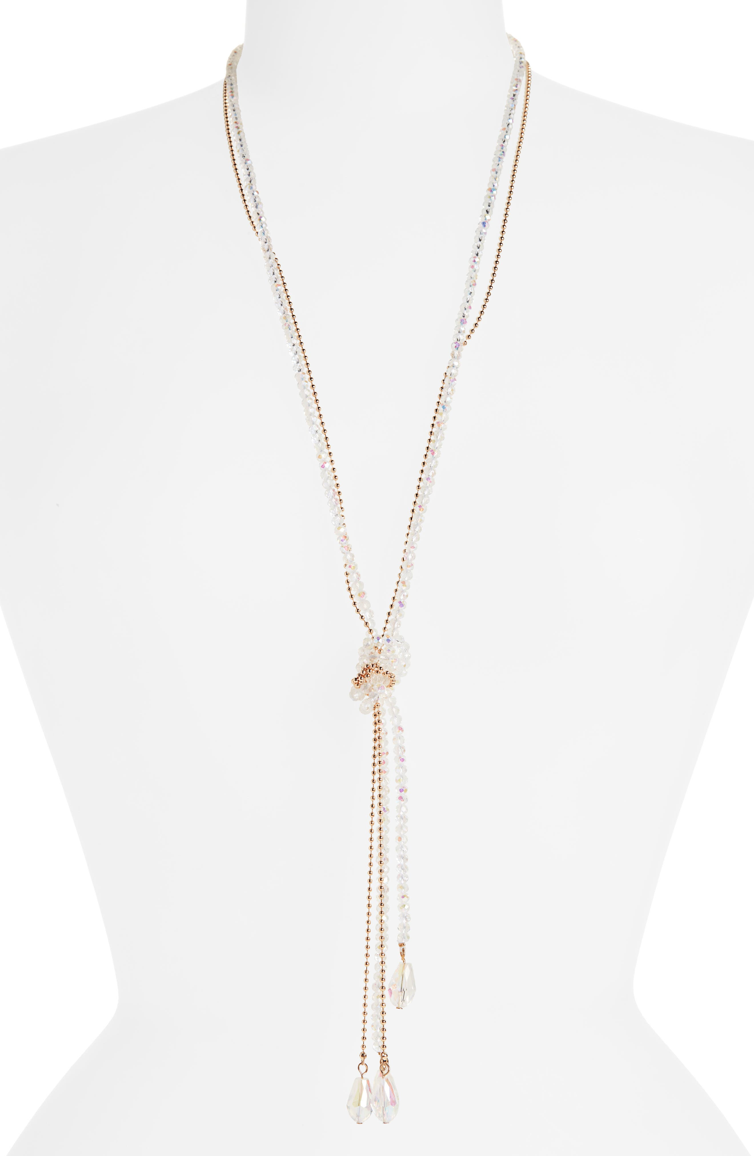 STELLA + RUBY Frankie Tie Beaded Lariat Necklace in Gold/ Crystal