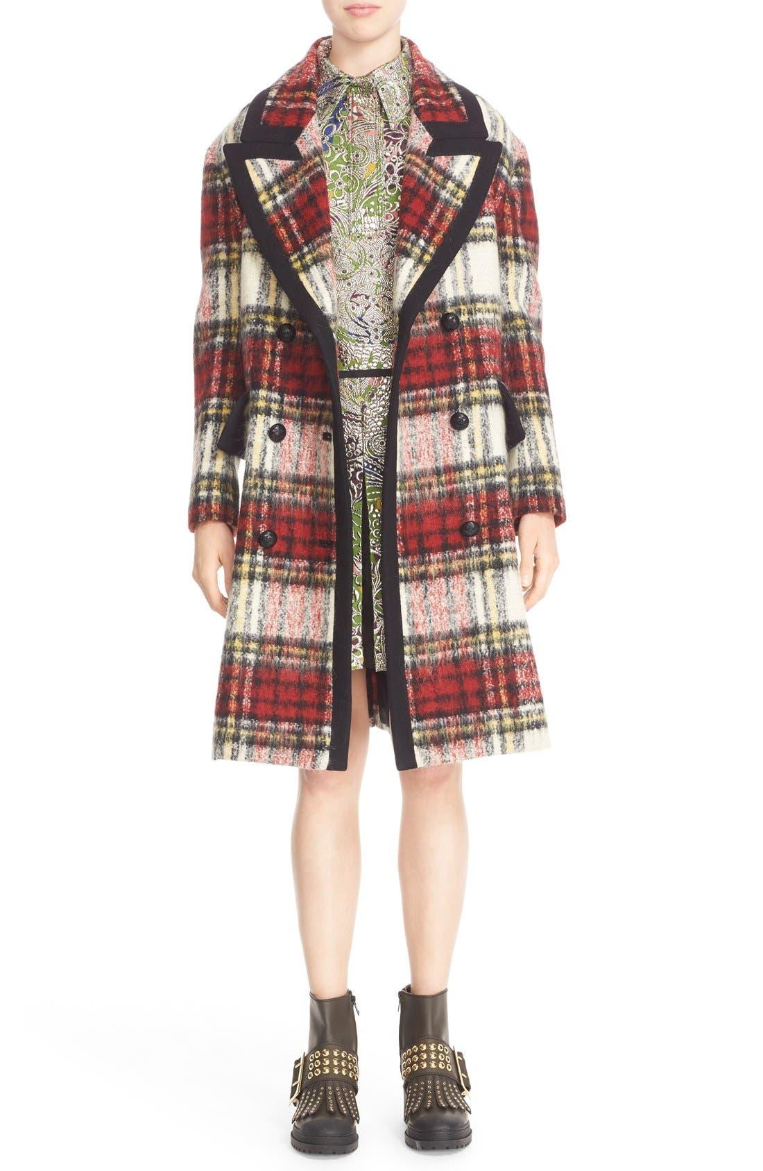 BURBERRY PRORSUM,                             Tartan Plaid Wool Blend Coat,                             Alternate thumbnail 6, color,                             930