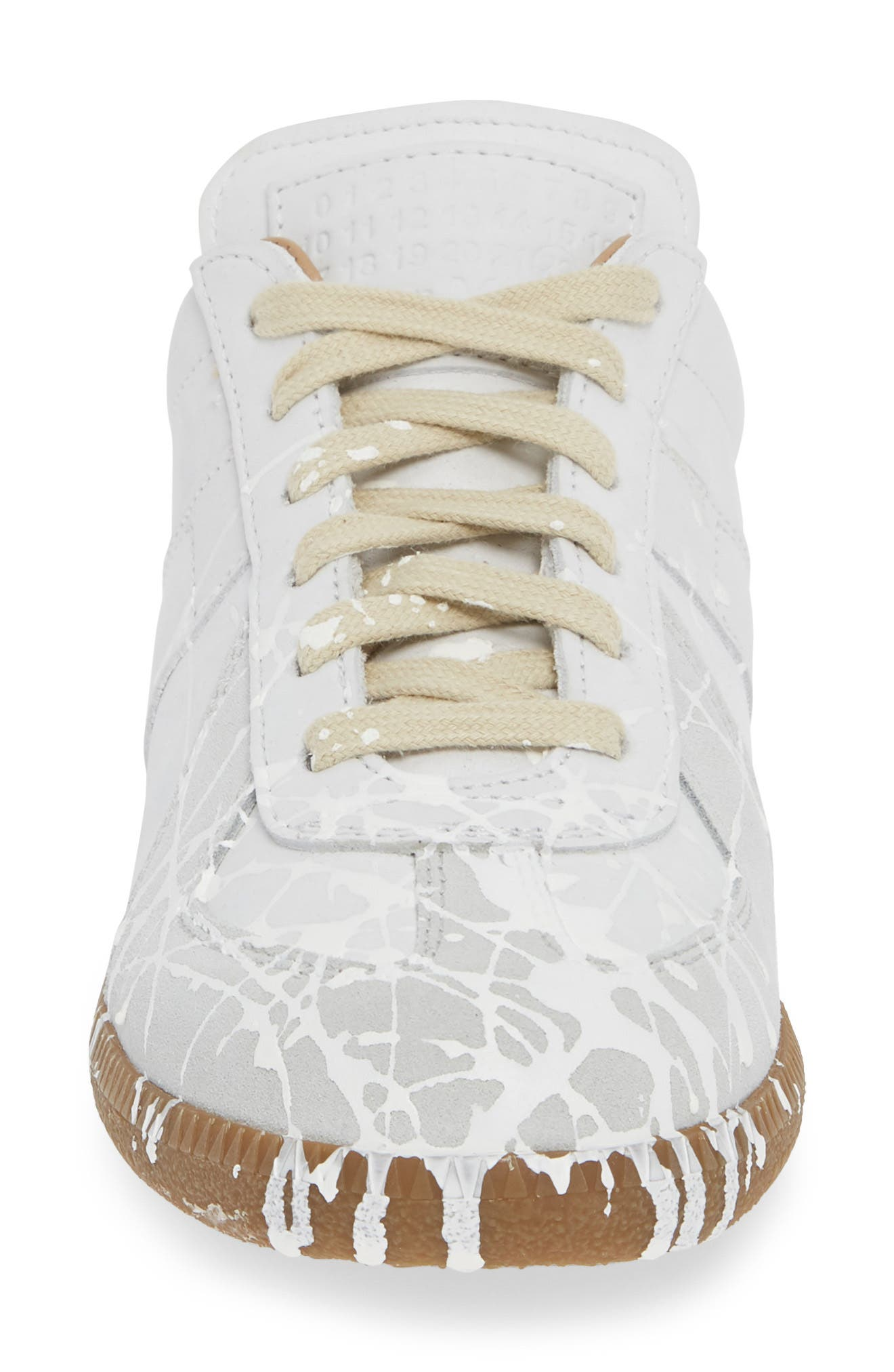Replica Paint Splatter Sneaker,                             Alternate thumbnail 4, color,                             WHITE