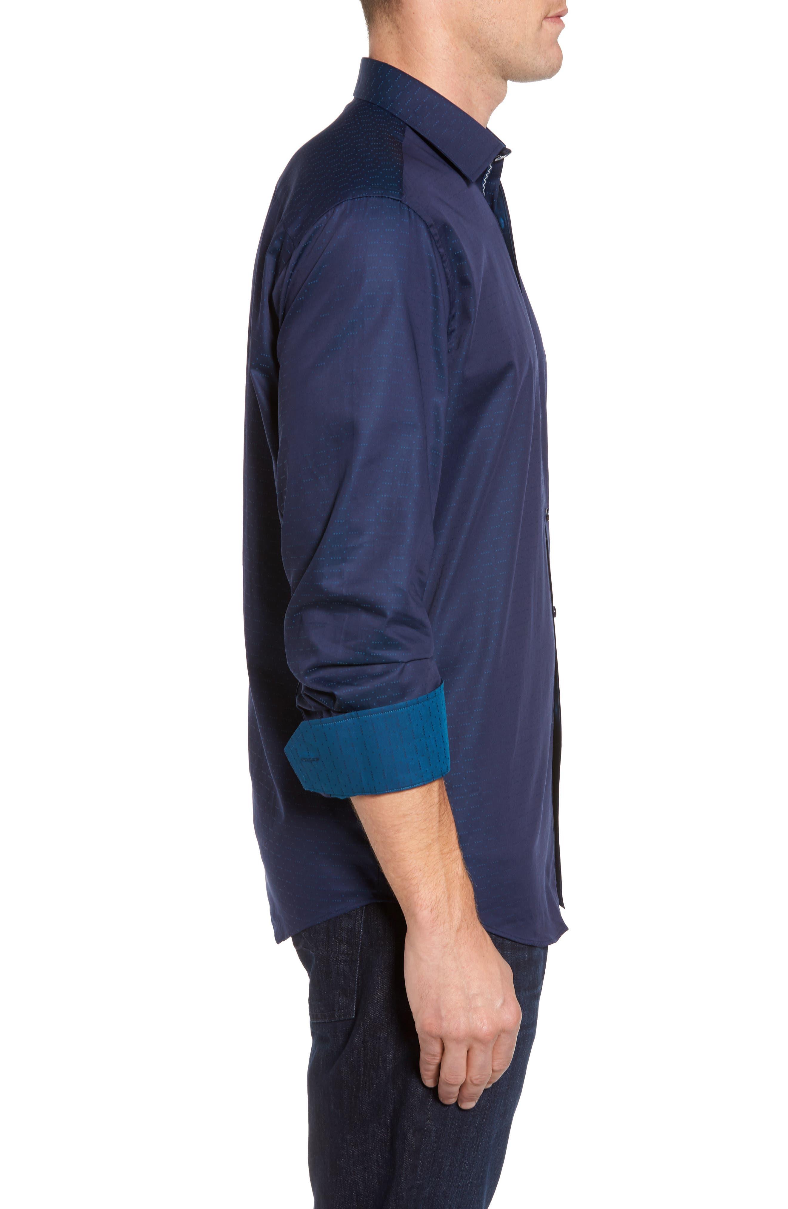 Classic Fit Square Dobby Sport Shirt,                             Alternate thumbnail 3, color,                             410