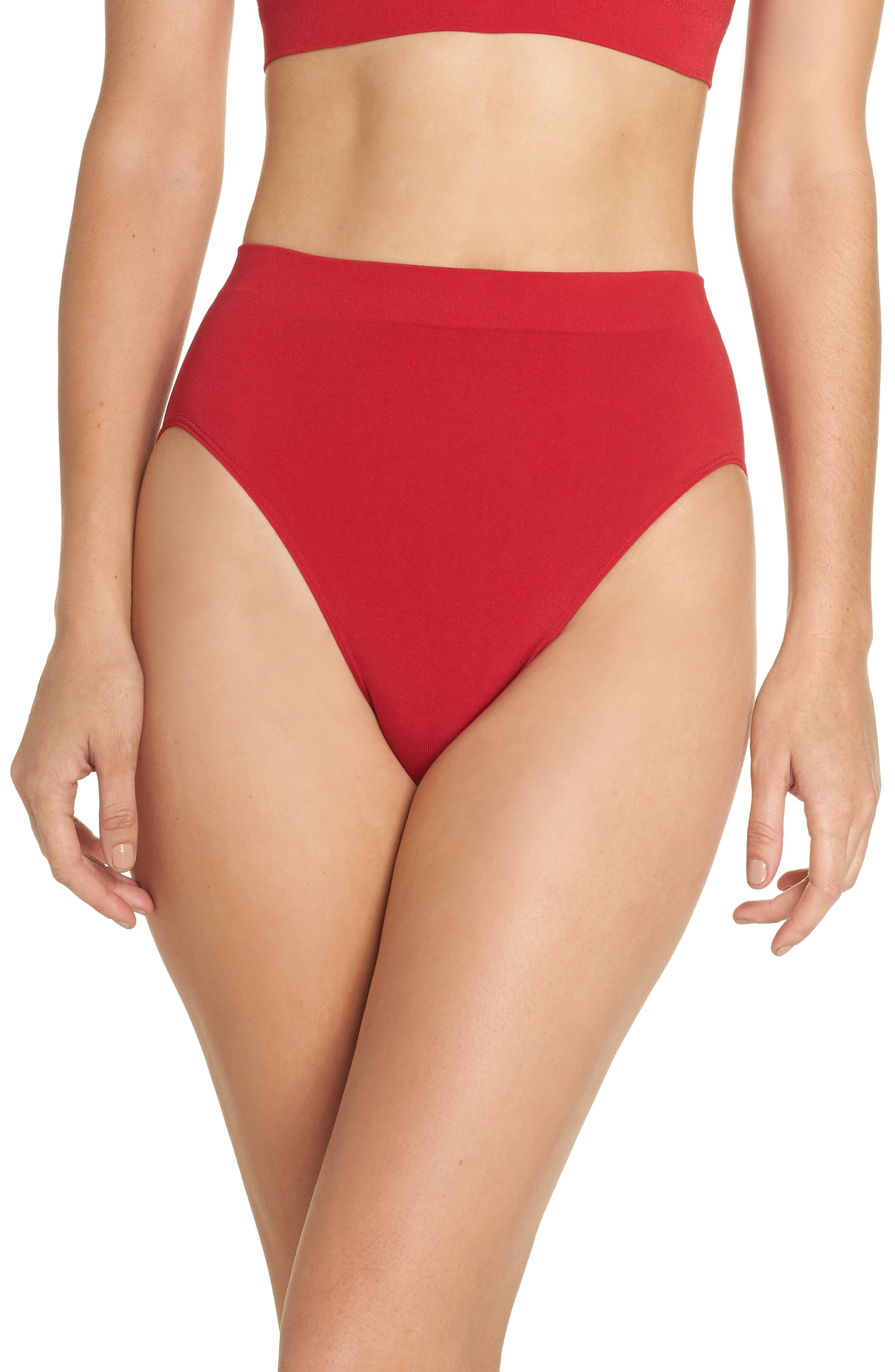 B Smooth High Cut Briefs,                         Main,                         color, JESTER RED