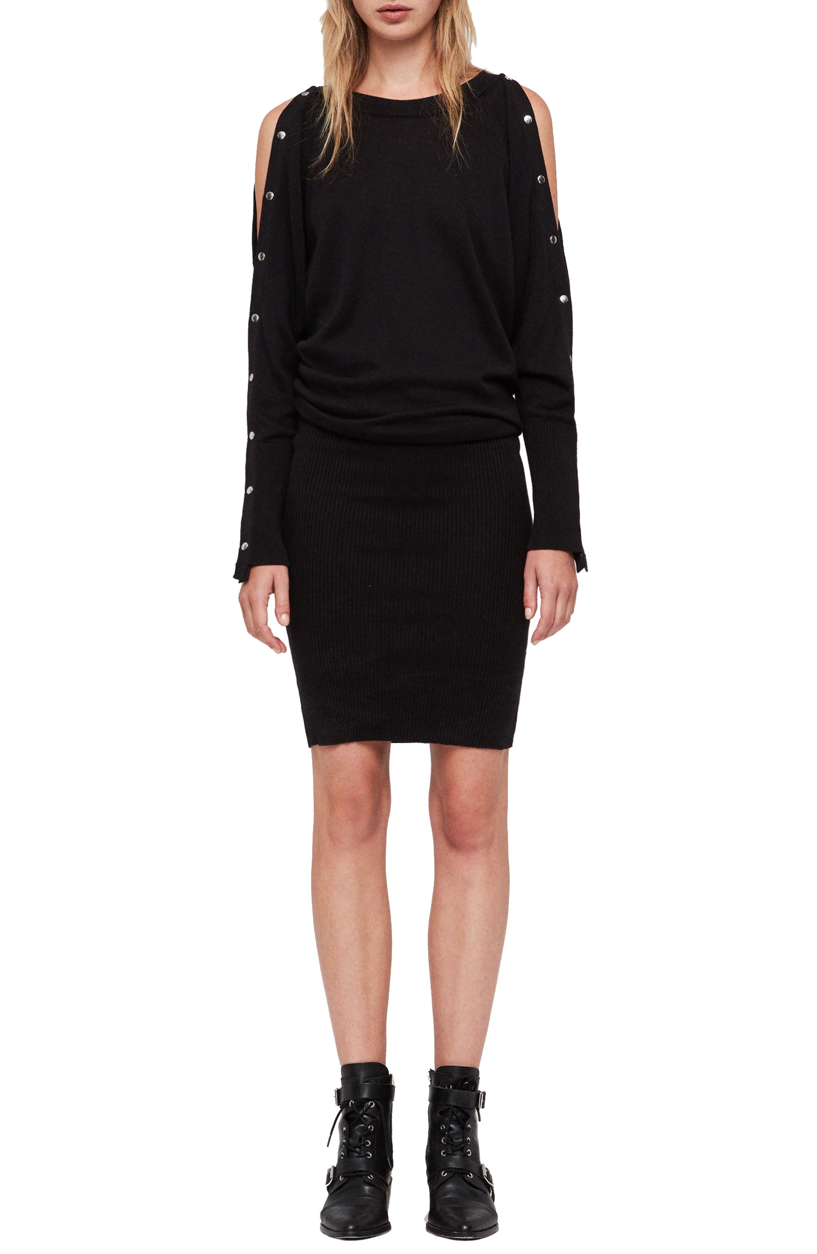 ALLSAINTS,                             Suzie Snap Sleeve Sweater Dress,                             Main thumbnail 1, color,                             001