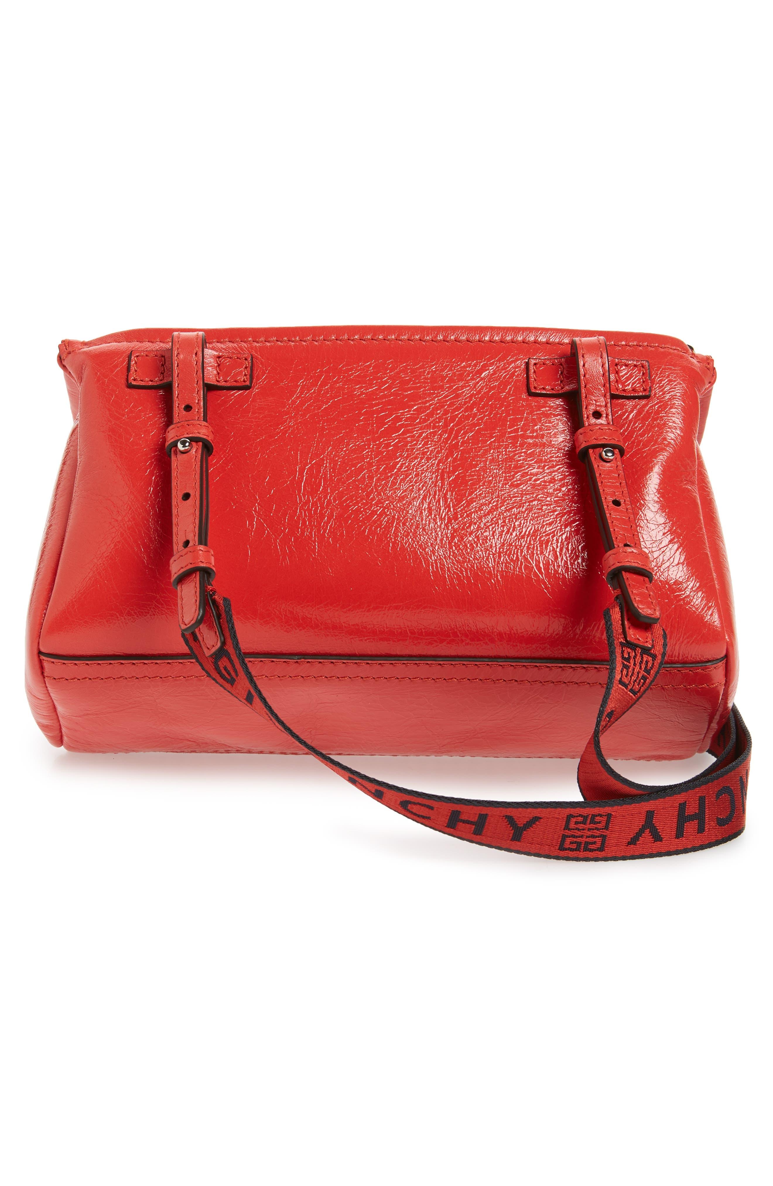 Mini Pandora Glazed Leather Shoulder Bag,                             Alternate thumbnail 3, color,                             POP RED