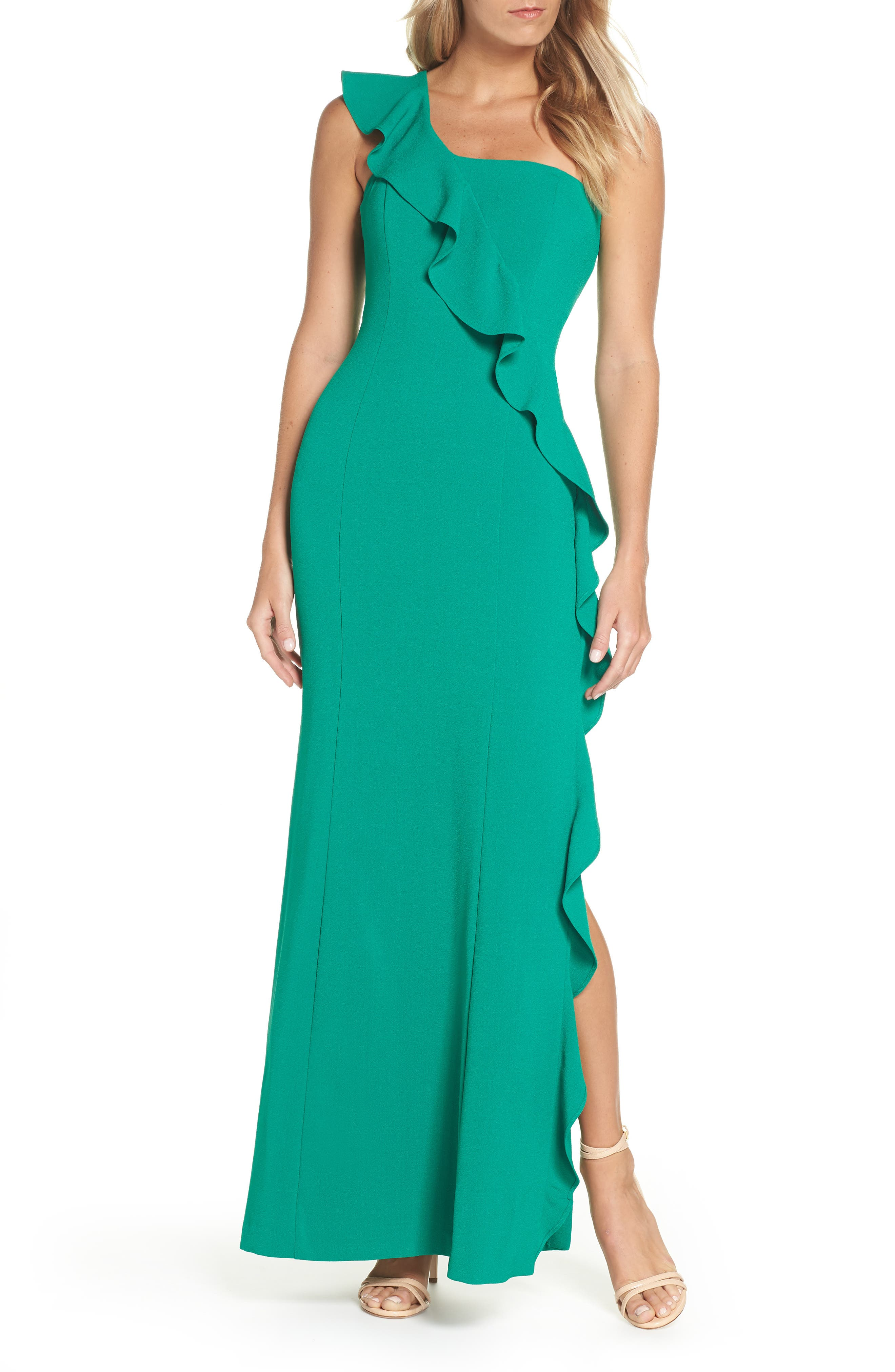 One-Shoulder Gown,                         Main,                         color, GREEN
