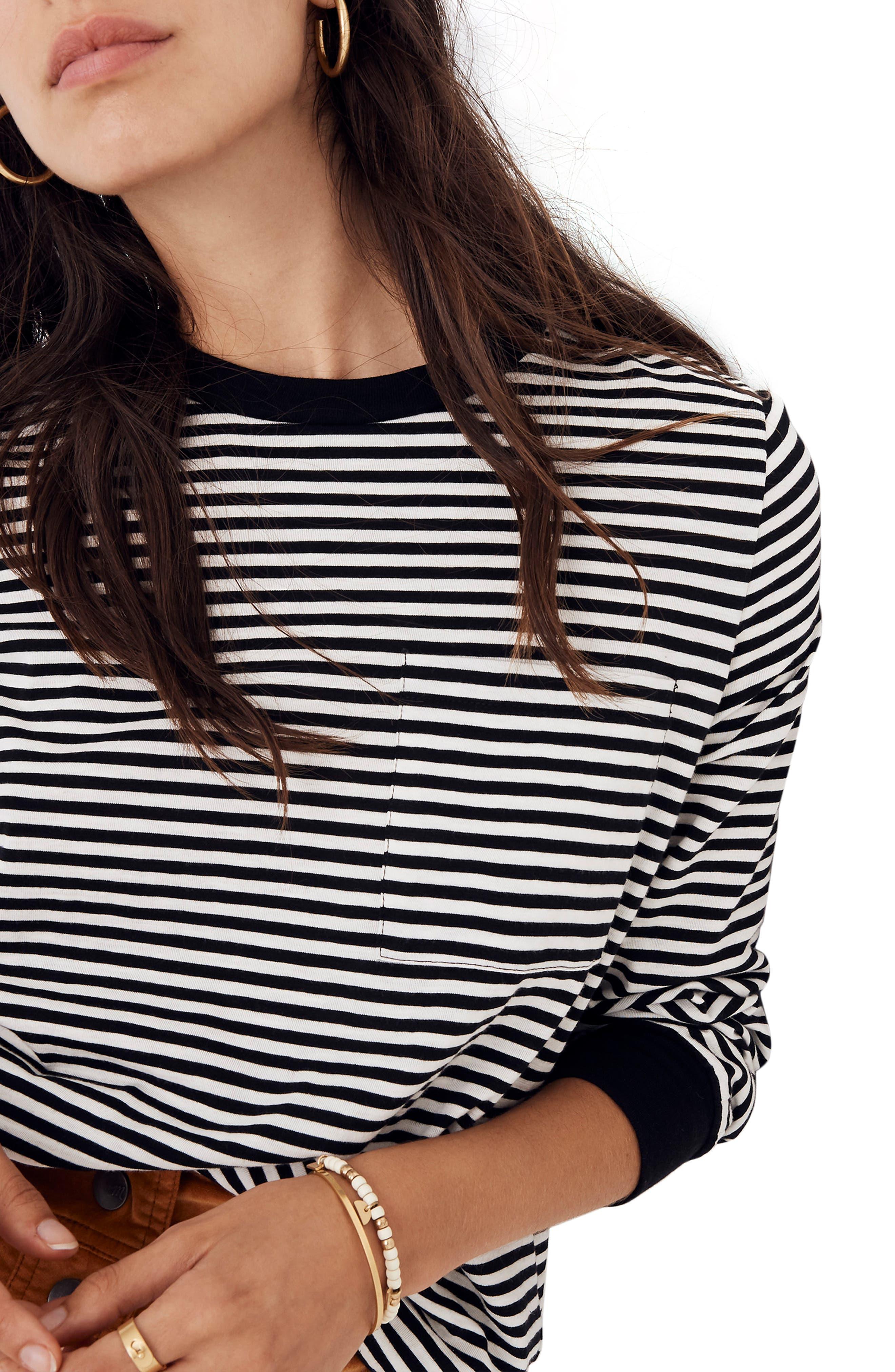 Stripe Long Sleeve Tee,                             Alternate thumbnail 4, color,                             TRUE BLACK