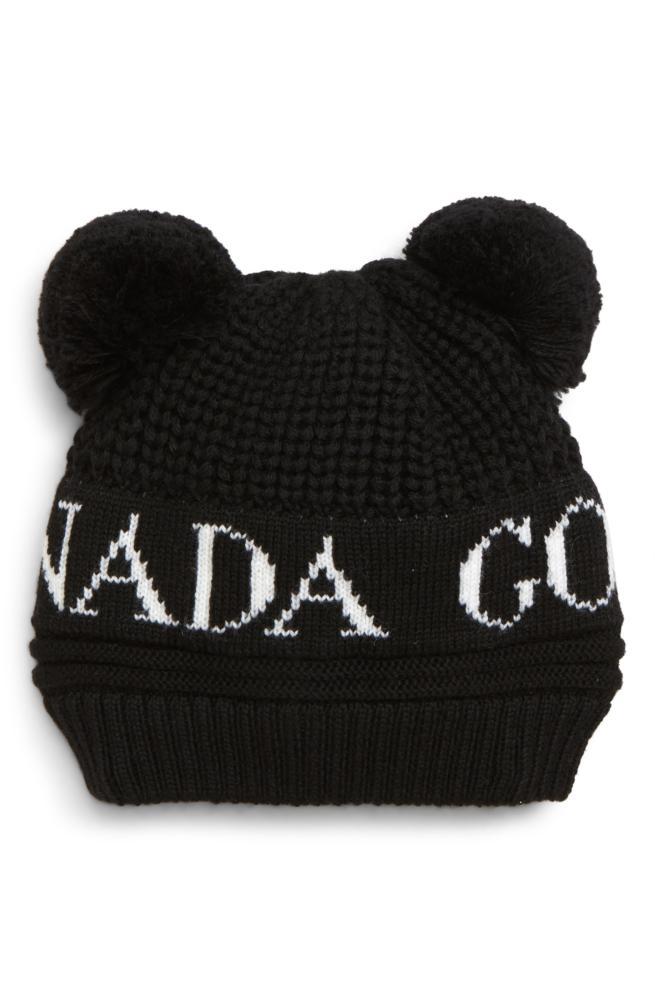 Double Pompom Hat,                             Main thumbnail 1, color,                             BLACK