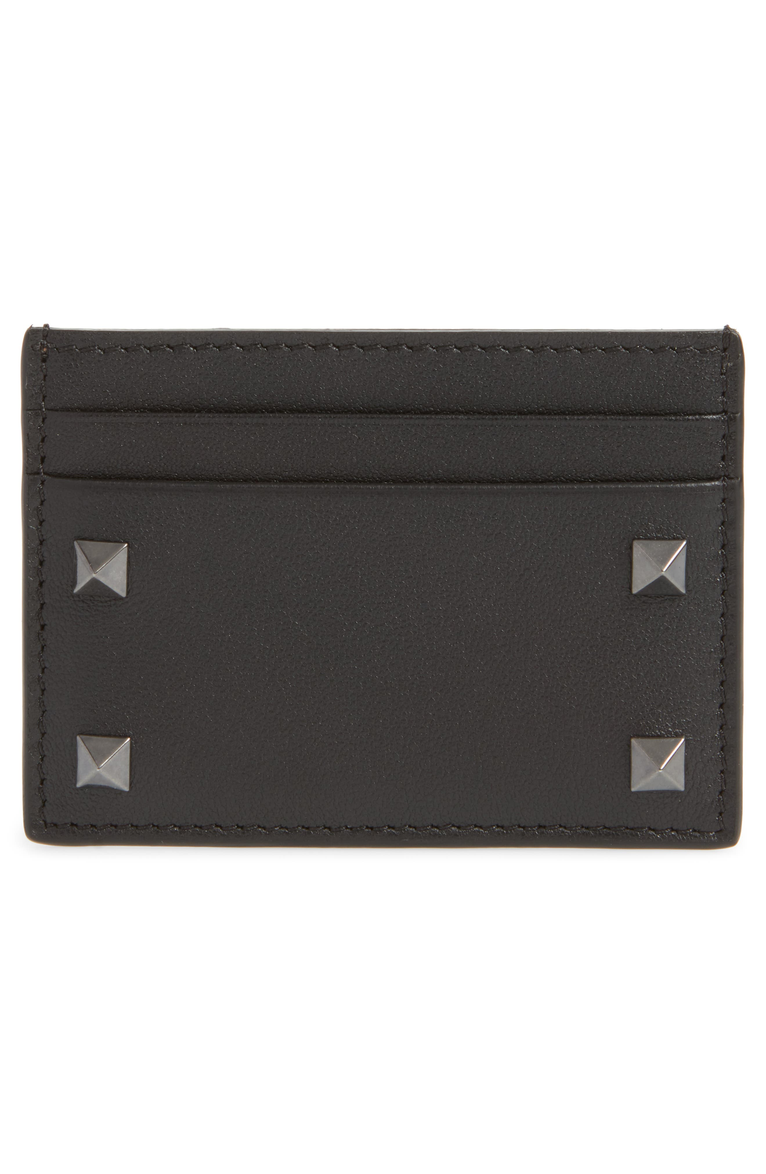 GARAVANI Stud Leather Card Case,                         Main,                         color, BLACK