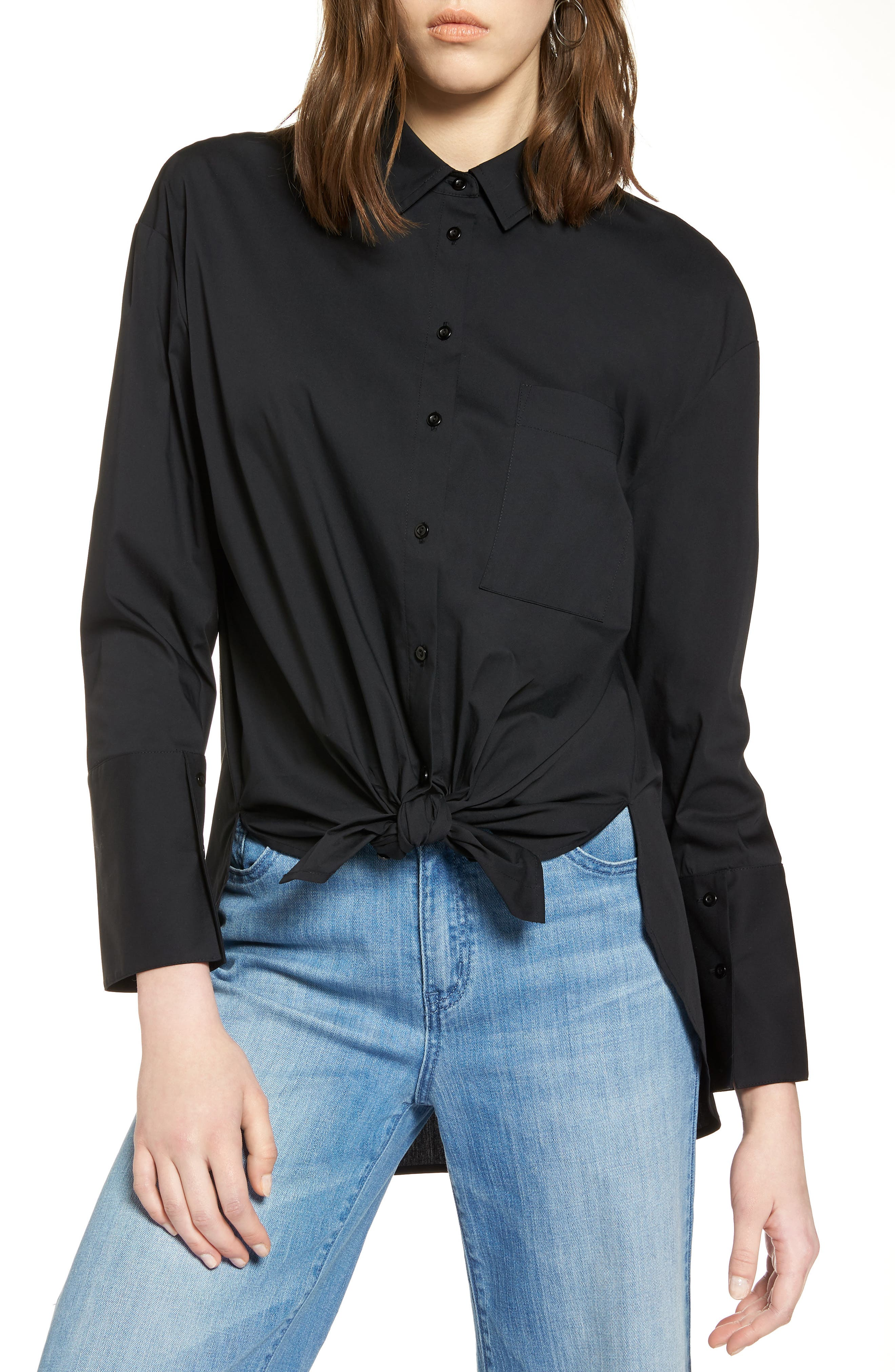 Tie Front Poplin Shirt,                         Main,                         color, 001
