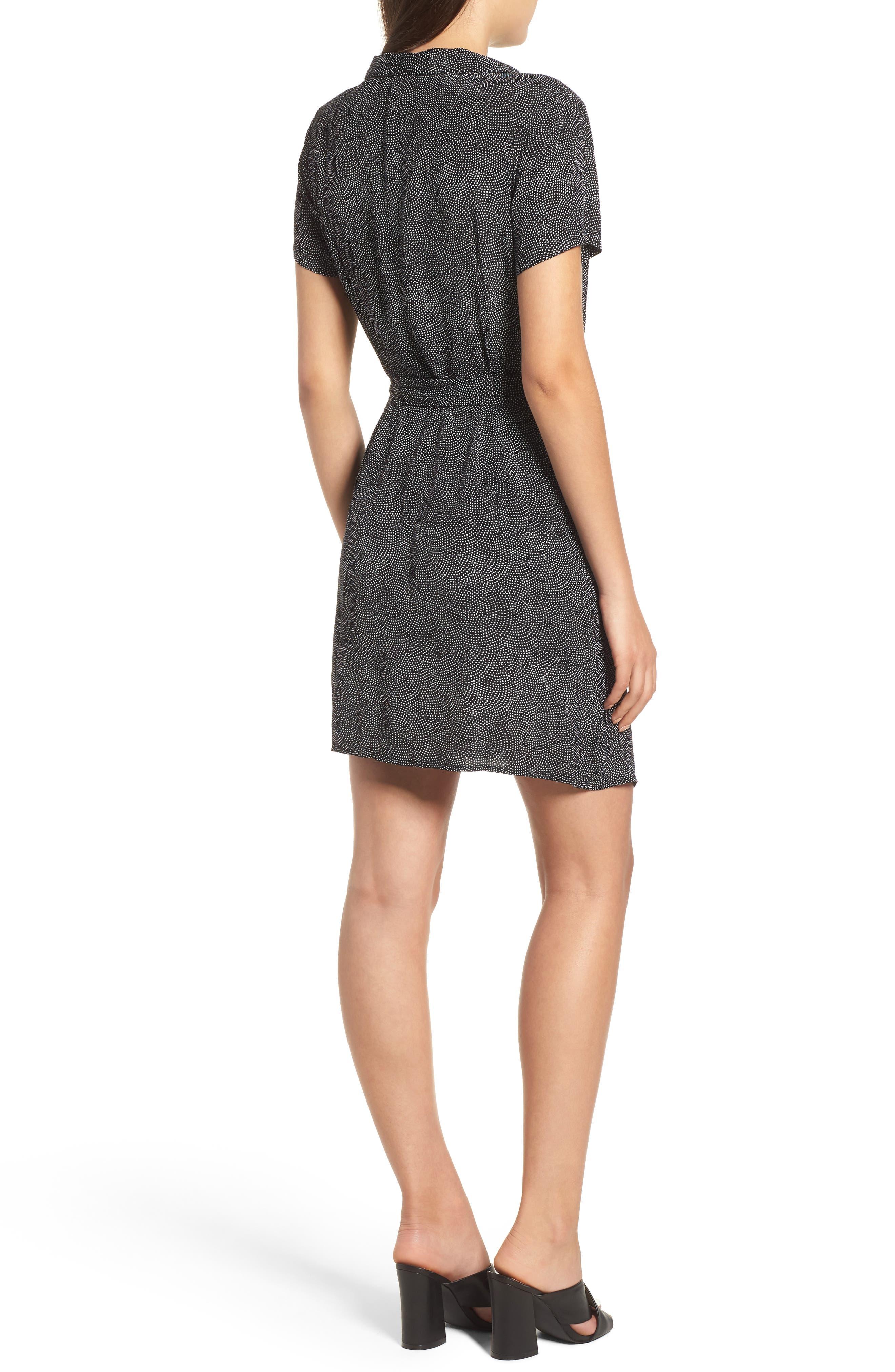 Print Wrap Dress,                             Alternate thumbnail 2, color,                             BLACK CONFETTI PARTY